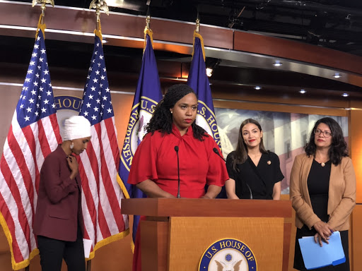 Ayanna Pressley opened up the press conference Monday to address President Donald Trump's tweets. (Photo courtesy of Henry Rodgers)