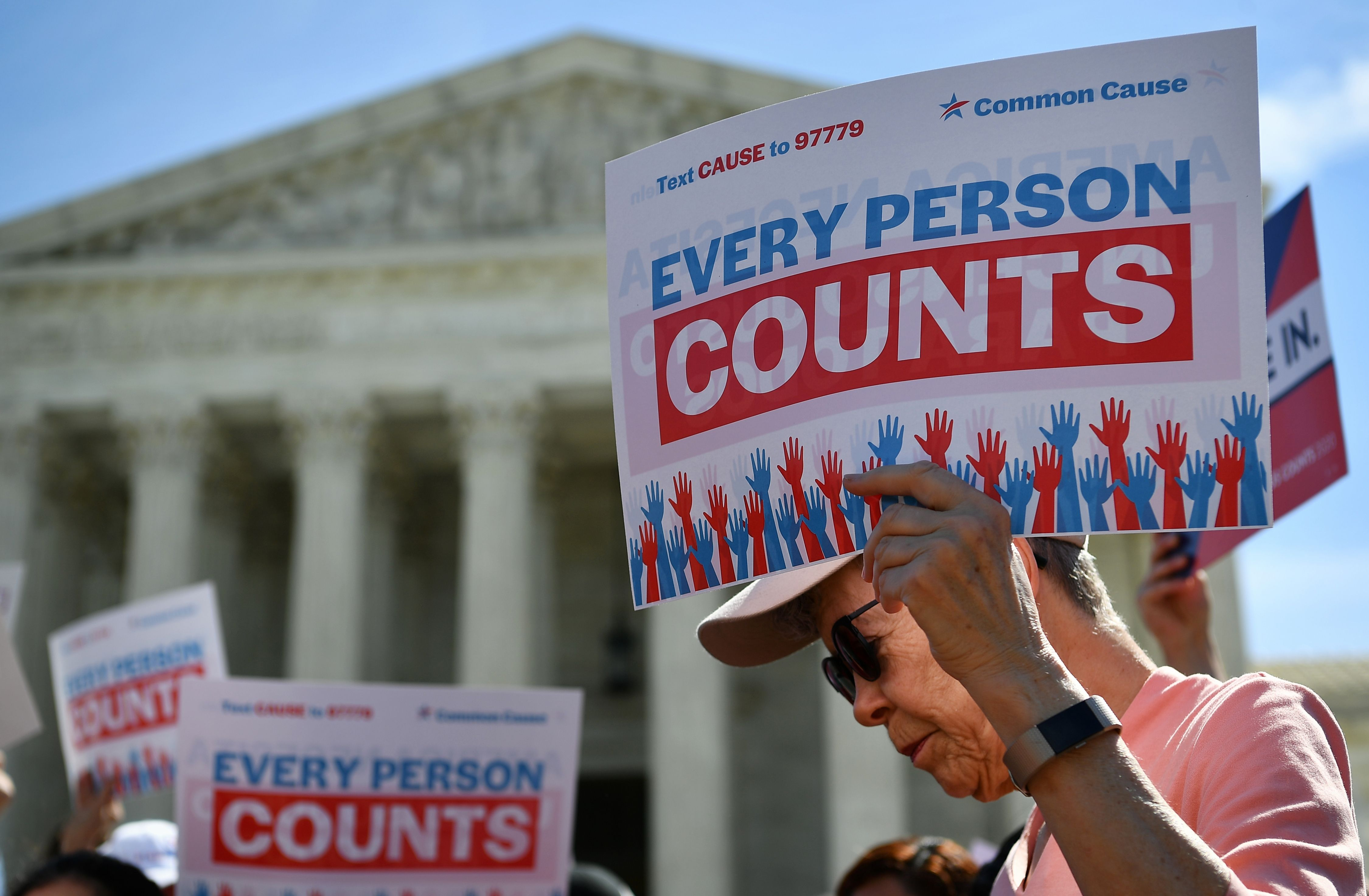 Demonstrators protest the proposed addition of a citizenship question on the 2020 Census at the Supreme Court on April 23, 2019. (Mandel Ngan/AFP/Getty Images)