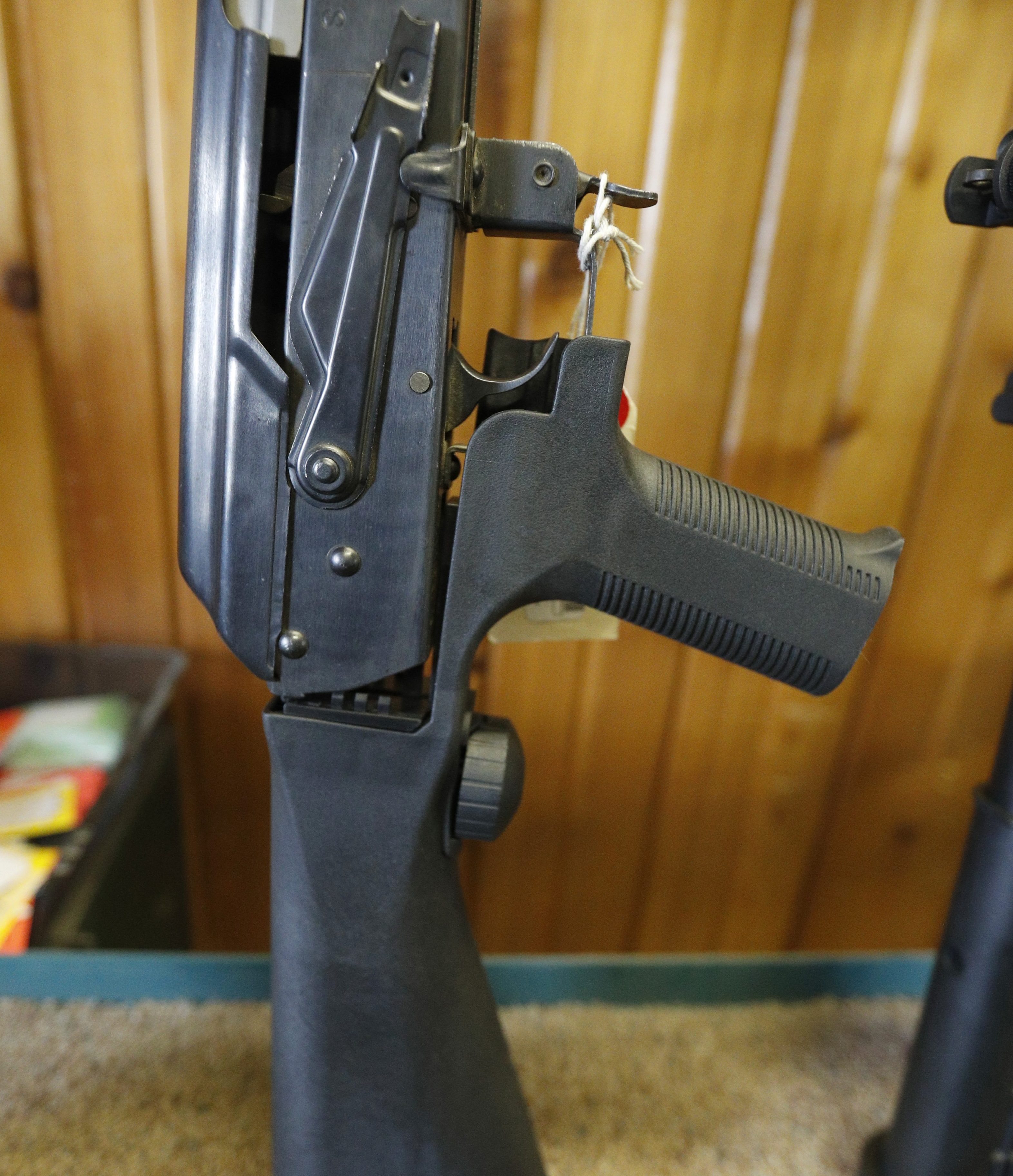 An AK-47 with a bump stock is shown at Good Guys Guns & Range on February 15, 2018 in Orem, Utah. An AR-15 was used in the Marjory Stoneman Douglas High School shooting in Parkland, Florida. (Photo by George Frey/Getty Images)