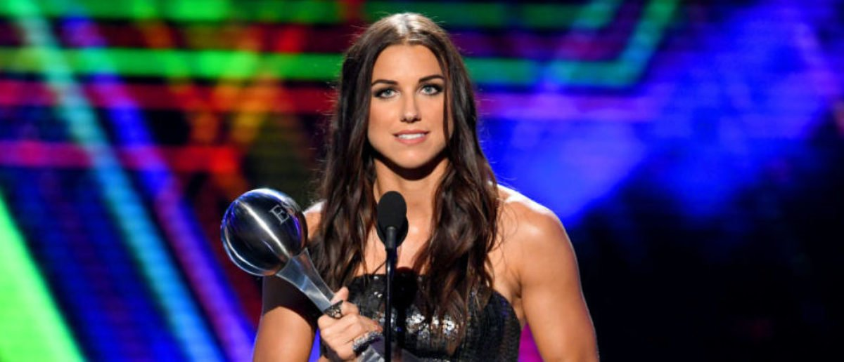 LOS ANGELES, CALIFORNIA - JULY 10: Alex Morgan accepts the Best Female Athlete award onstage during The 2019 ESPYs at Microsoft Theater on July 10, 2019 in Los Angeles, California. (Photo by Kevin Winter/Getty Images)
