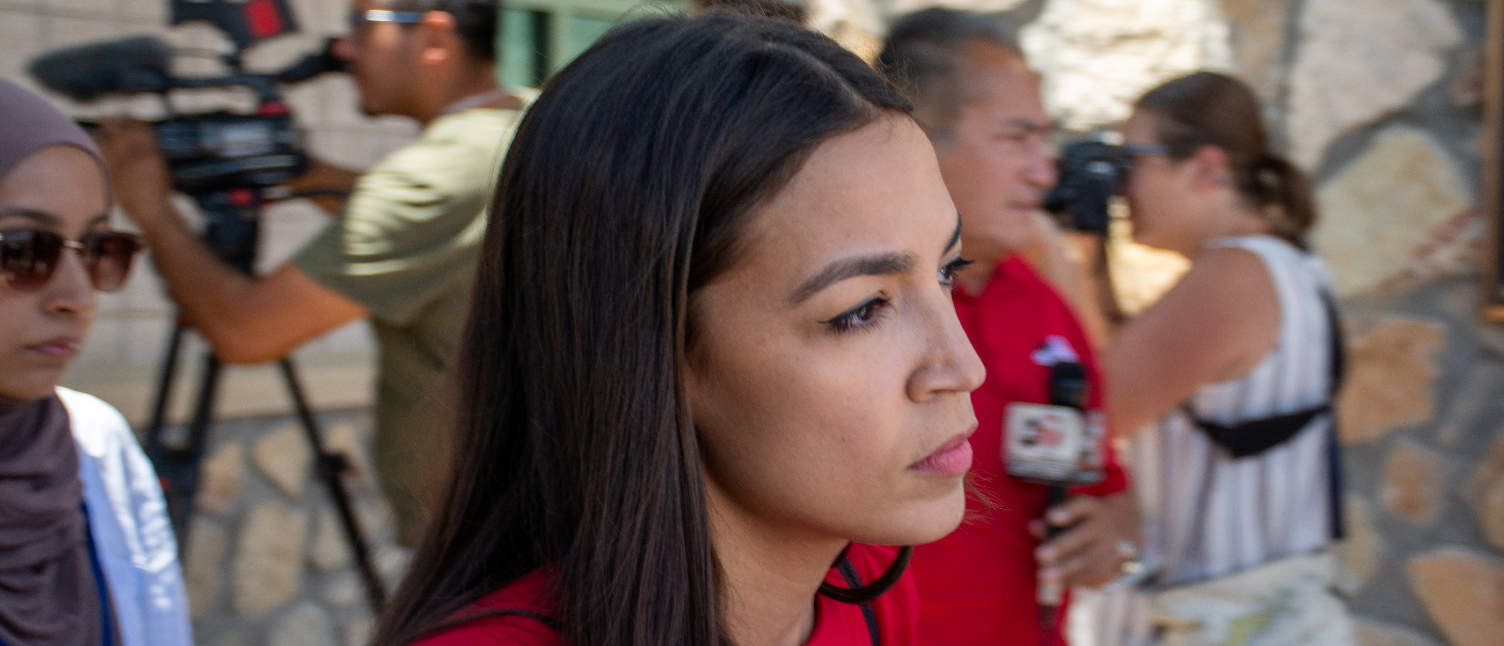 U.S. Rep. Alexandria Ocasio-Cortez leaves border patrol station during a tour of two facilities in El Paso