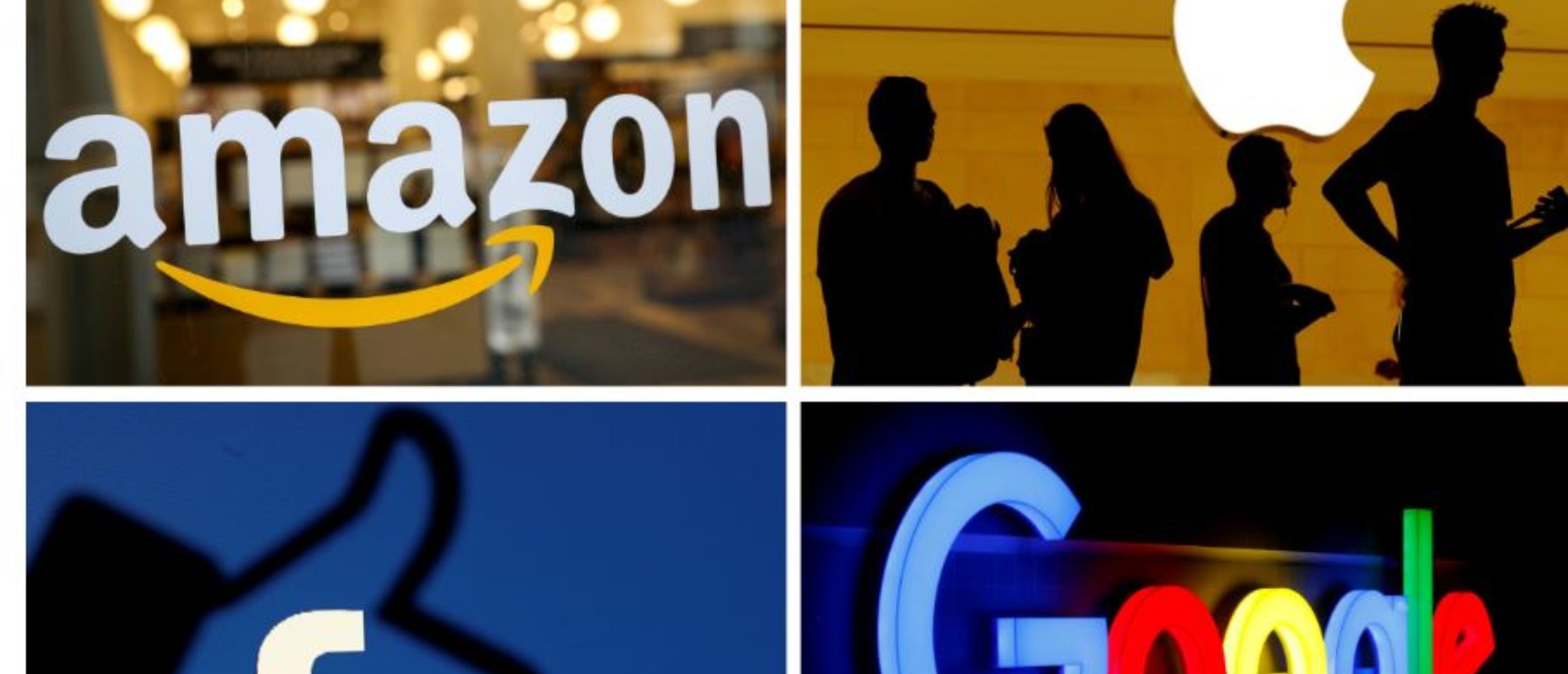The logos of Amazon, Apple, Facebook and Google in a combination photo from Reuters files./File Photo