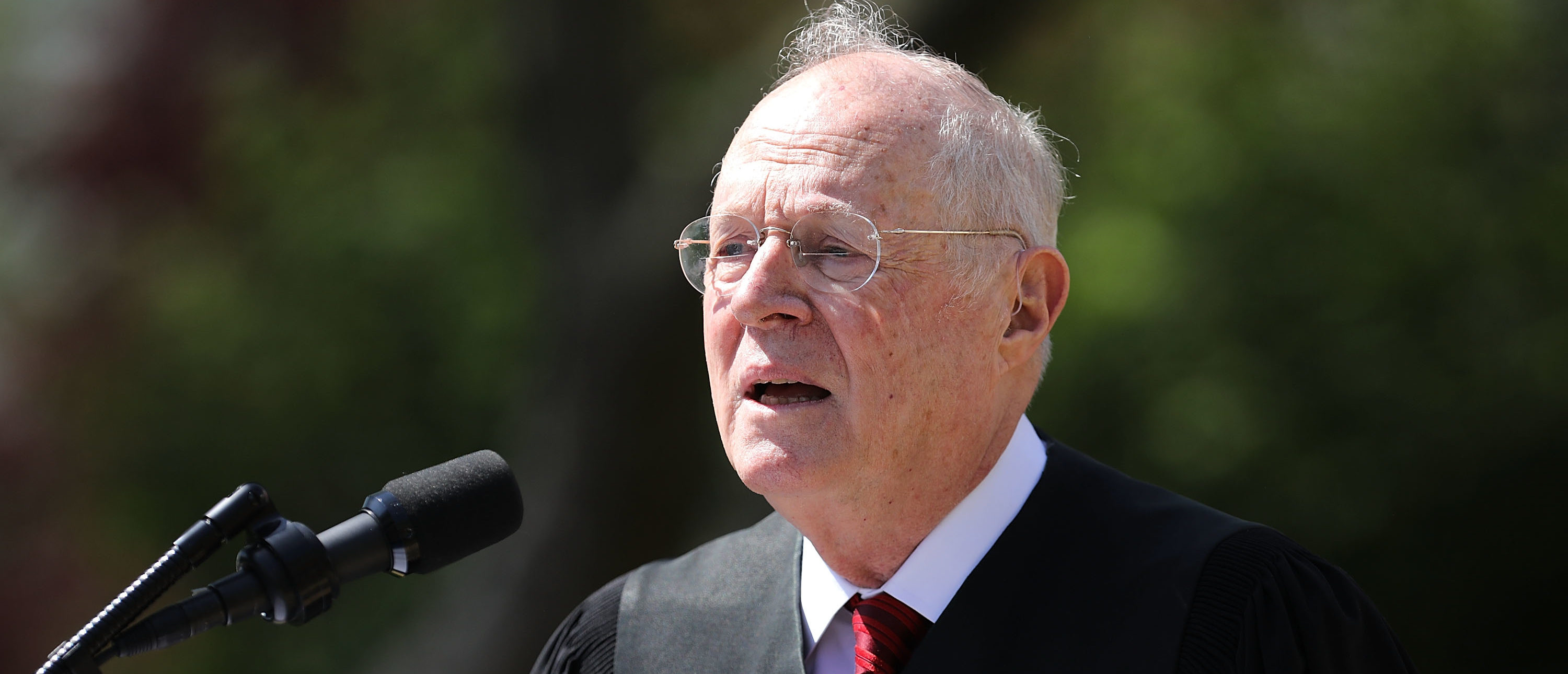 Justice Anthony Kennedy delivers remarks before administering the judicial oath to Justice Neil Gorsuch during a ceremony in the Rose Garden at the White House on April 10, 2017. (Chip Somodevilla/Getty Images)