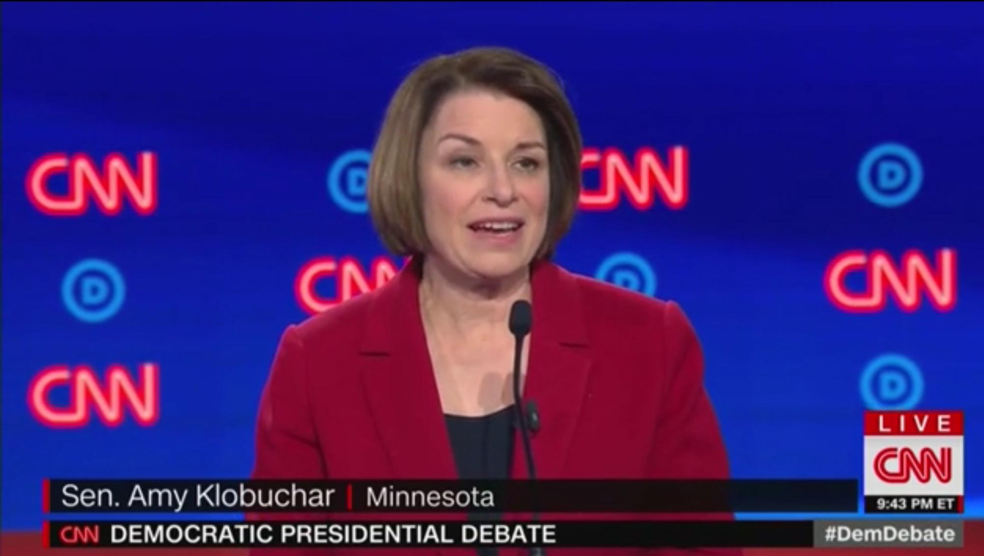 Sen. Amy Klobuchar responds to a question at the Detroit Democratic debate, July 30, 2019. CNN screenshot.