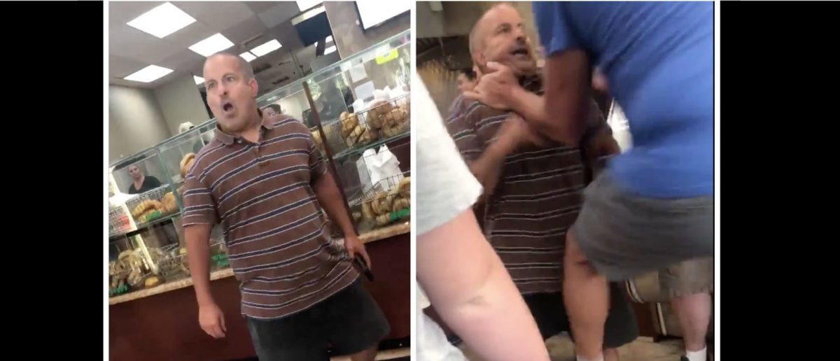Short Man In Bagel Store Starts Losing His Temper, Immediately Gets Obliterated