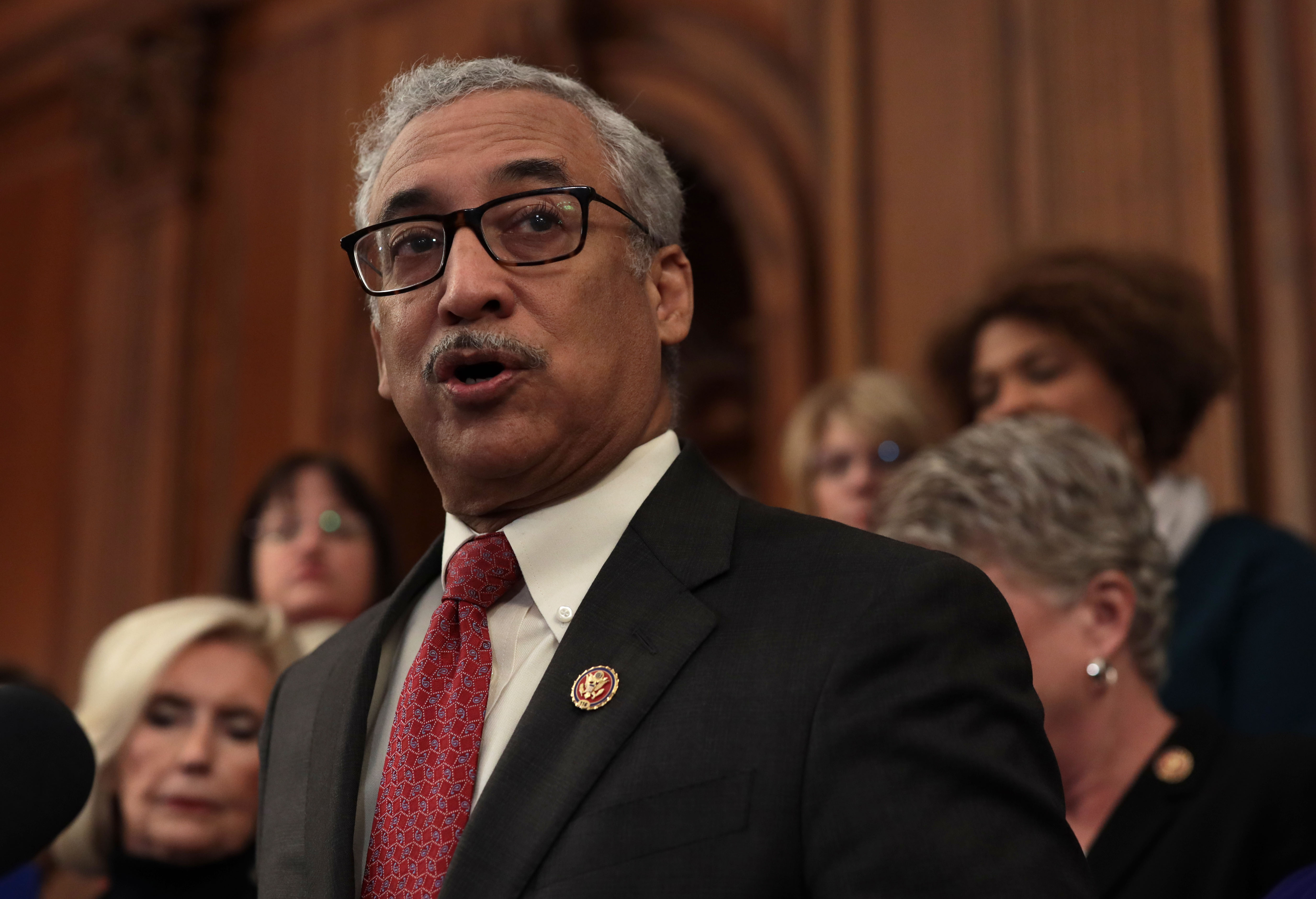 "WASHINGTON, DC - JANUARY 30: U.S. Rep. Bobby Scott (D-VA) speaks during a news conference at the U.S. Capitol January 30, 2019 in Washington, DC. House Democrats held a news conference to introduce the ""Paycheck Fairness Act."" (Photo by Alex Wong/Getty Images)"