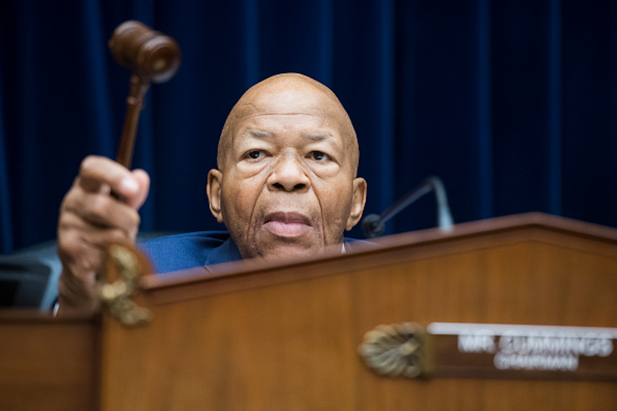 """UNITED STATES - JULY 12: Chairman Elijah Cummings, D-Md., is seen during the House Oversight and Reform Committee hearing in Rayburn Building where members of Congress testified about their trip to the border of the U.S. and Mexico on Friday, July 12, 2019. The hearing was titled """"The Trump Administration's Child Separation Policy: Substantiated Allegations of Mistreatment."""" (Photo By Tom Williams/CQ Roll Call)"""