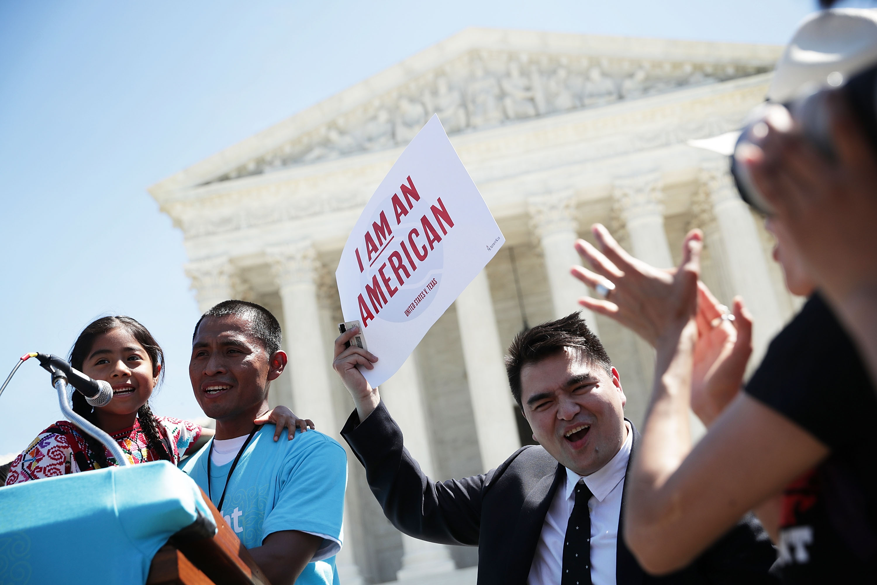 Pro-DACA demonstrators speak in front of the Supreme Court on April 18, 2016. (Alex Wong/Getty Images)
