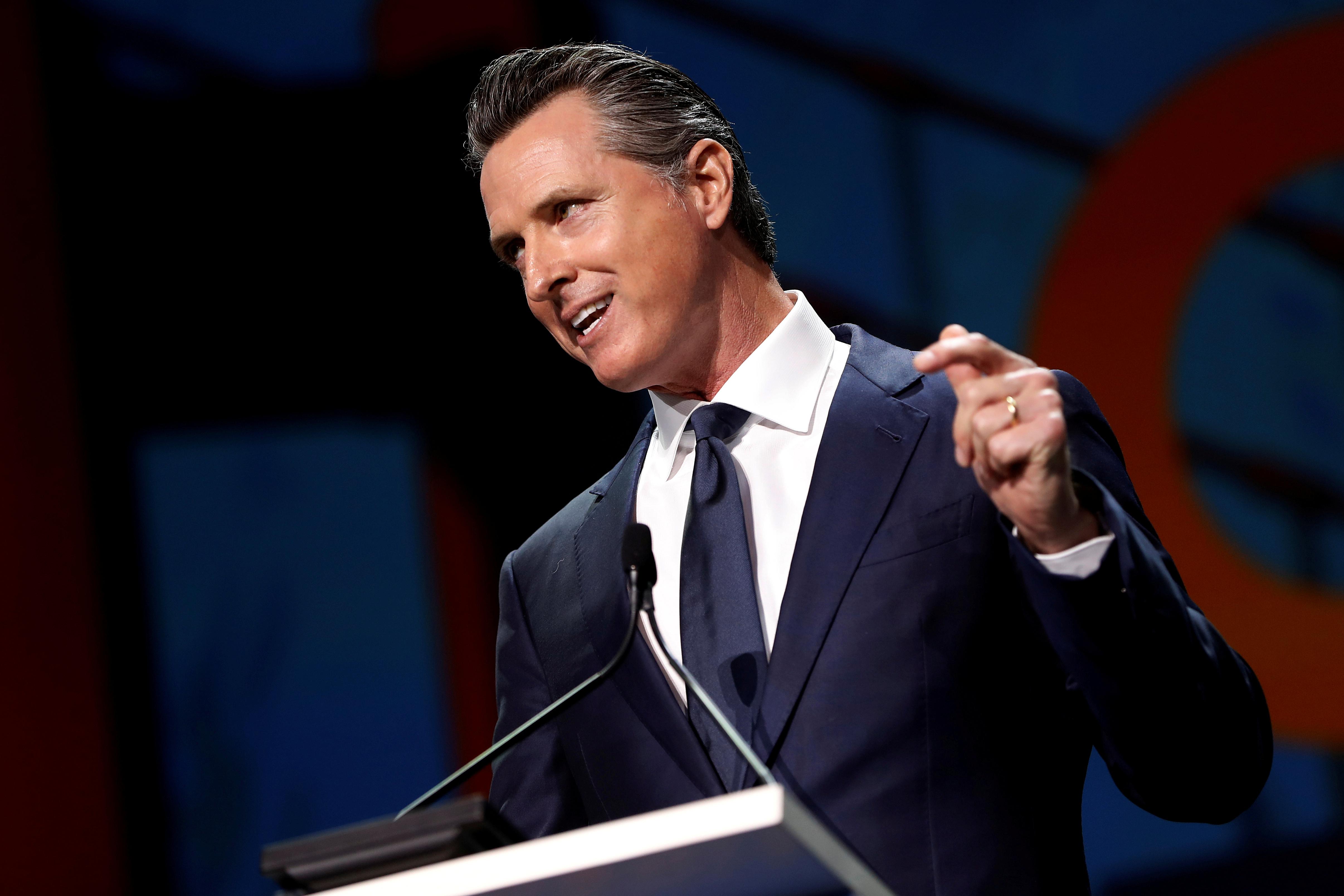 California's Gov. Gavin Newsom speaks during the California Democratic Convention in San Francisco, California, U.S., June 1, 2019. REUTERS/Stephen Lam/File Photo
