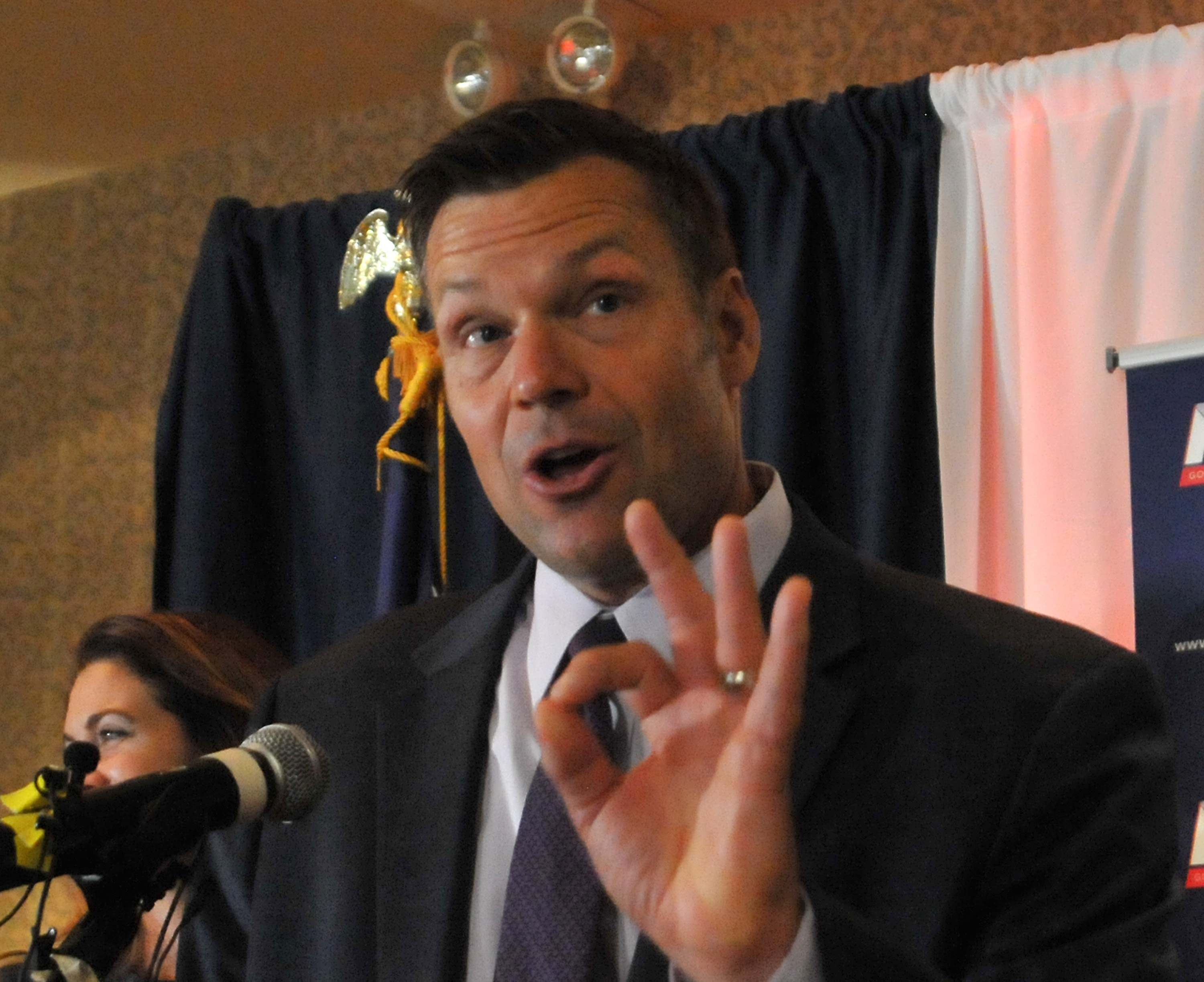 Republican primary candidate for Governor Kris Kobach, speaks to supporters just after midnight in a tight race with Jeff Colyer that is too close to call. (Photo by Steve Pope/Getty Images)