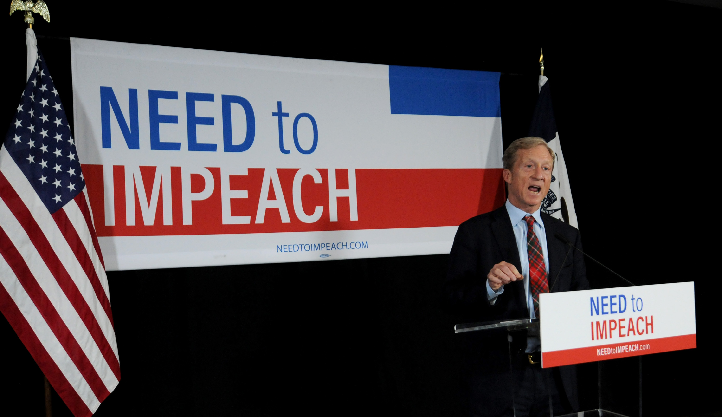Billionaire Activist Tom Steyer speaks to supporters on January 9, 2019 in Des Moines, Iowa. Steyer announced that he would not run for president in 2020, and would instead concentrate his efforts on the possibility of impeaching President Trump. (Photo by Steve Pope/Getty Images)