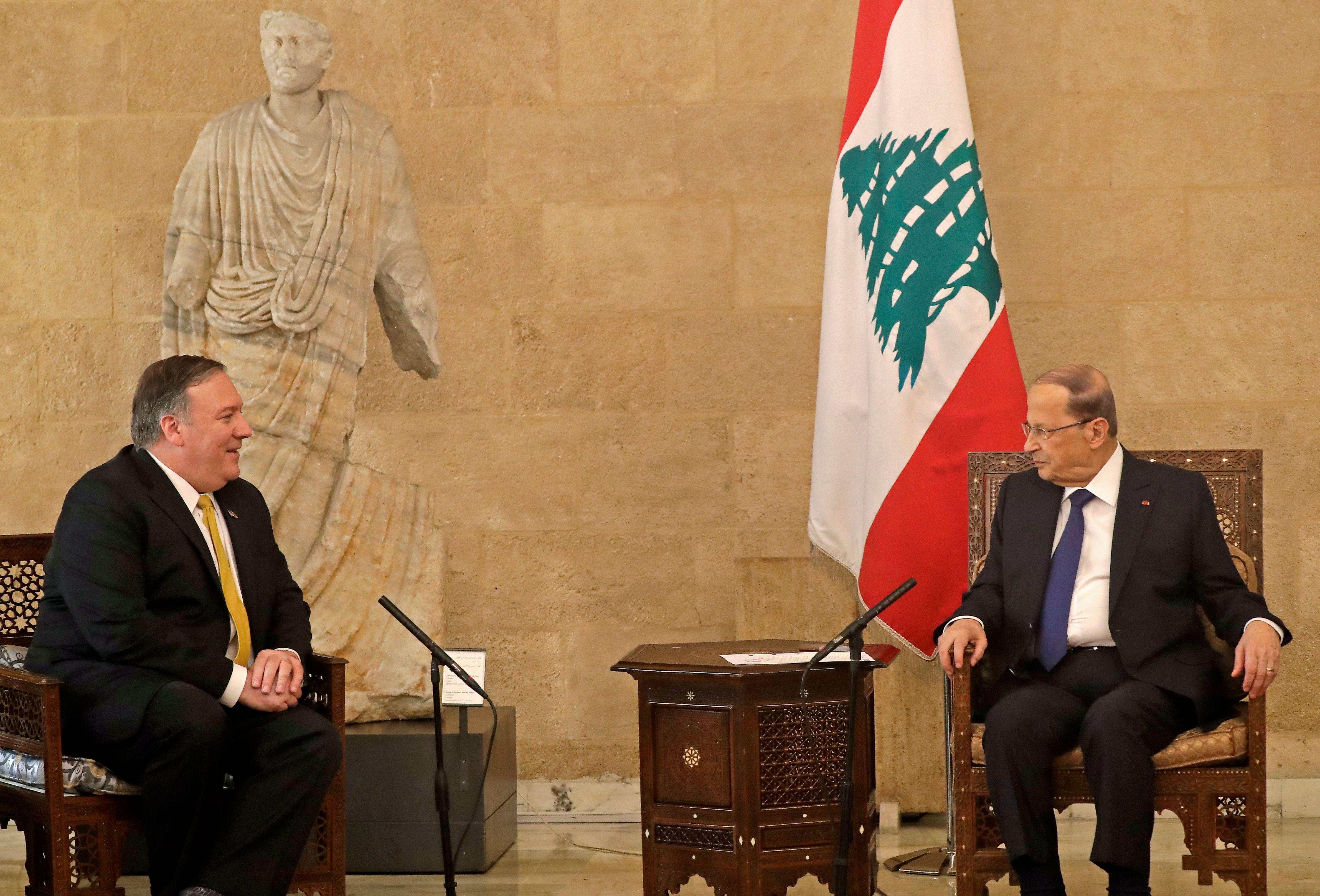 US Secretary of State Mike Pompeo (L) meets with Lebanon's President Michel Aoun (R) at the presidential palace in Baabda, east of the capital Beirut on March 22, 2019. (JOSEPH EID/AFP/Getty Images)