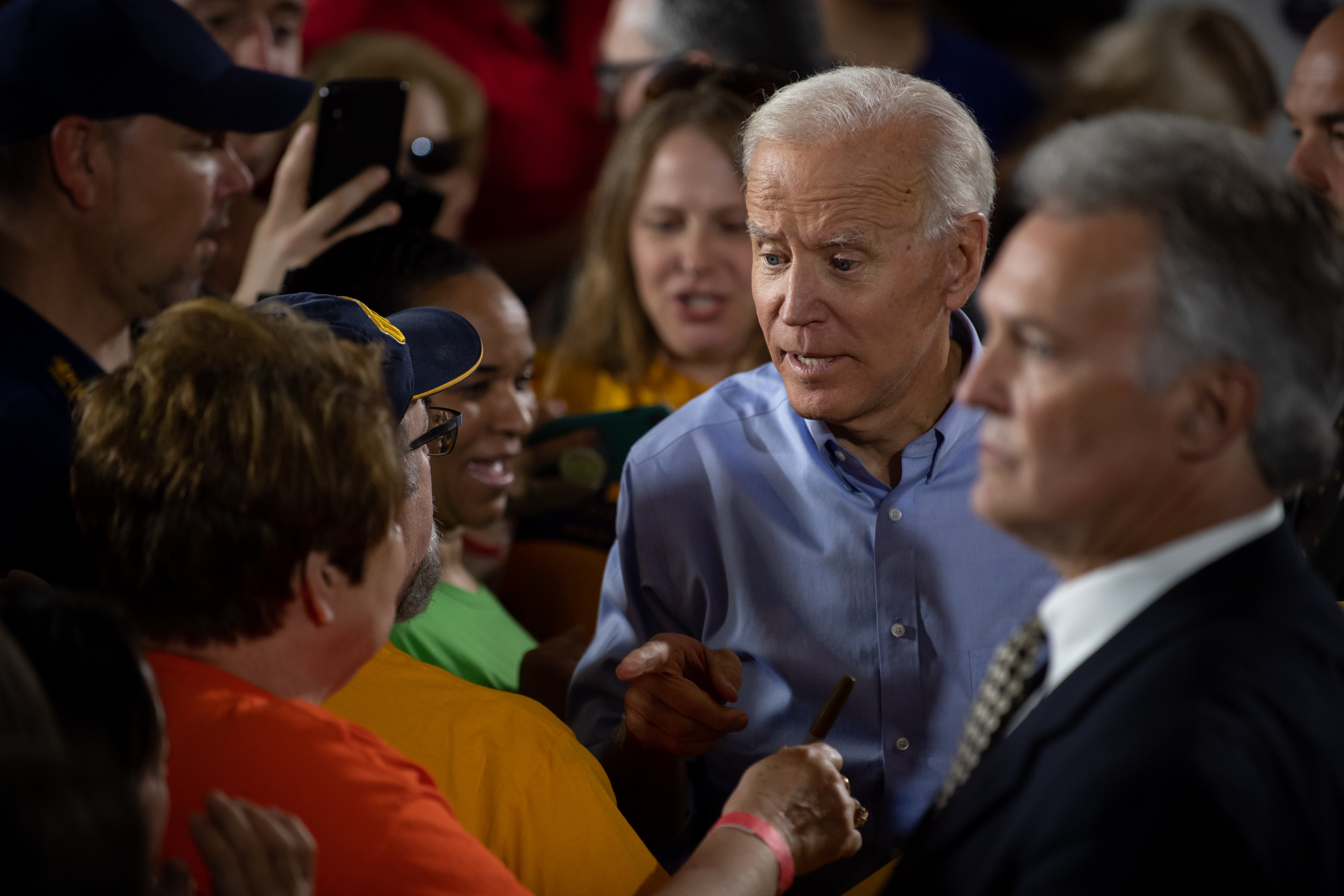 PITTSBURGH, PA - APRIL 29: Former U.S. Vice President Joe Biden greets well-wishers at a campaign rally at Teamsters Local 249 Union Hall April 29, 2019 in Pittsburgh, Pennsylvania. Biden began his first full week of campaigning for president by speaking on how to rebuild America's middle class. (Photo by Jeff Swensen/Getty Images)