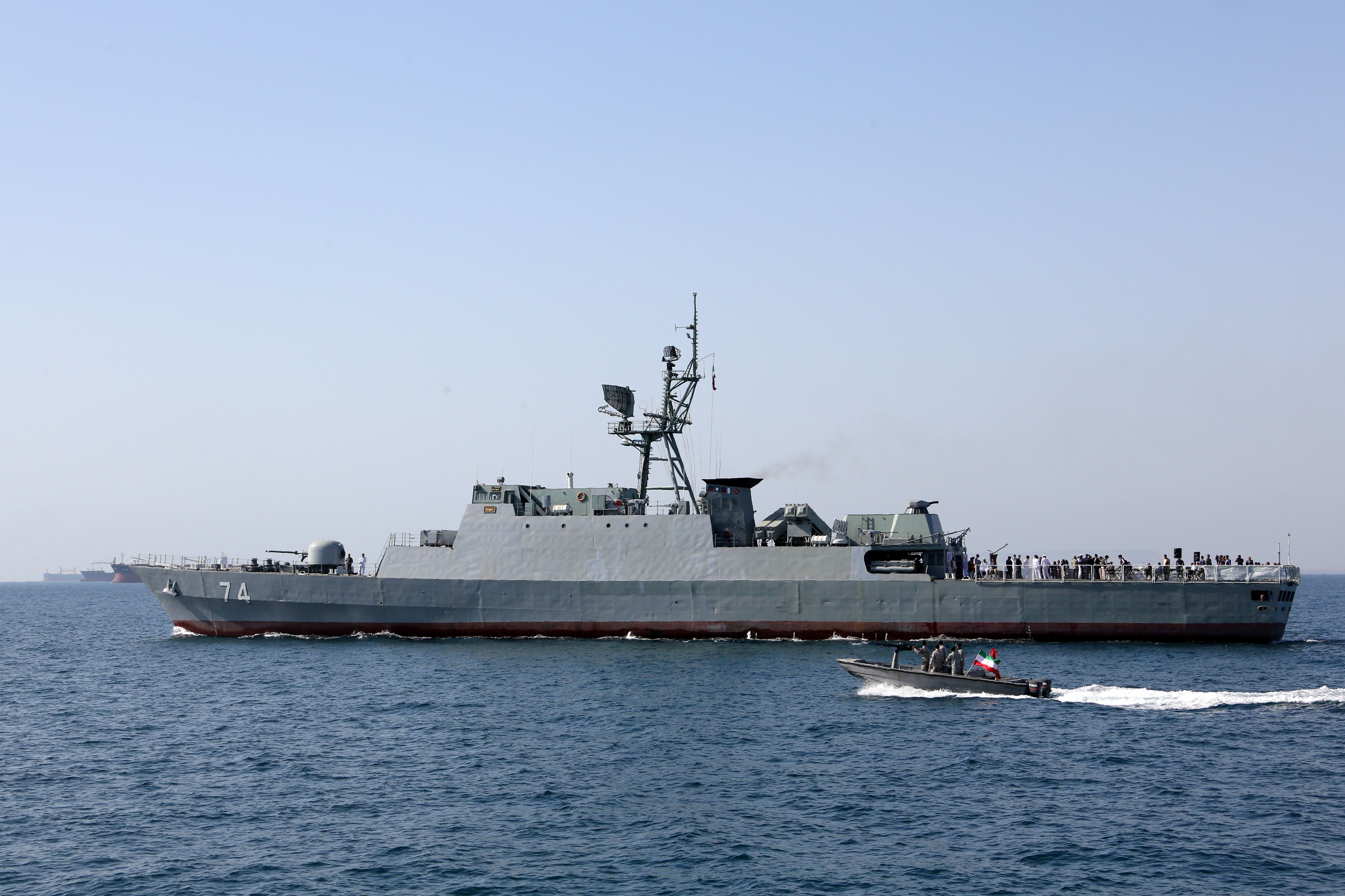 "An Iranian Navy warship takes part in the ""National Persian Gulf day"" in the Strait of Hormuz, on April 30, 2019. (ATTA KENARE/AFP/Getty Images)"