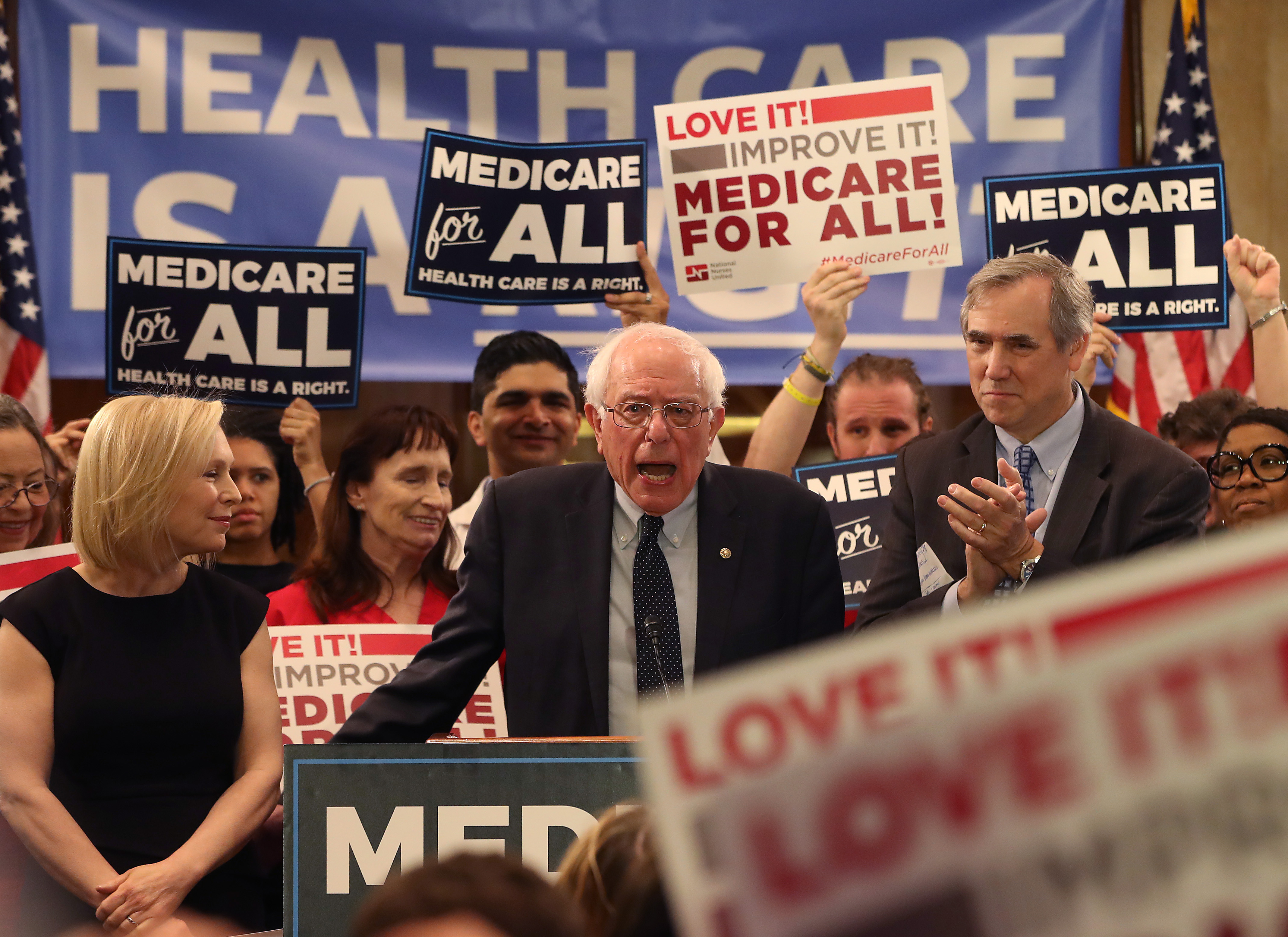 "Sen. Bernie Sanders speaks while introducing health care legislation titled the ""Medicare for All Act of 2019"" with Sen. Kirsten Gillibrand and Sen. Jeff Merkley, during a news conference on Capitol Hill, on April 9, 2019 in Washington, DC. (Photo by Mark Wilson/Getty Images)"