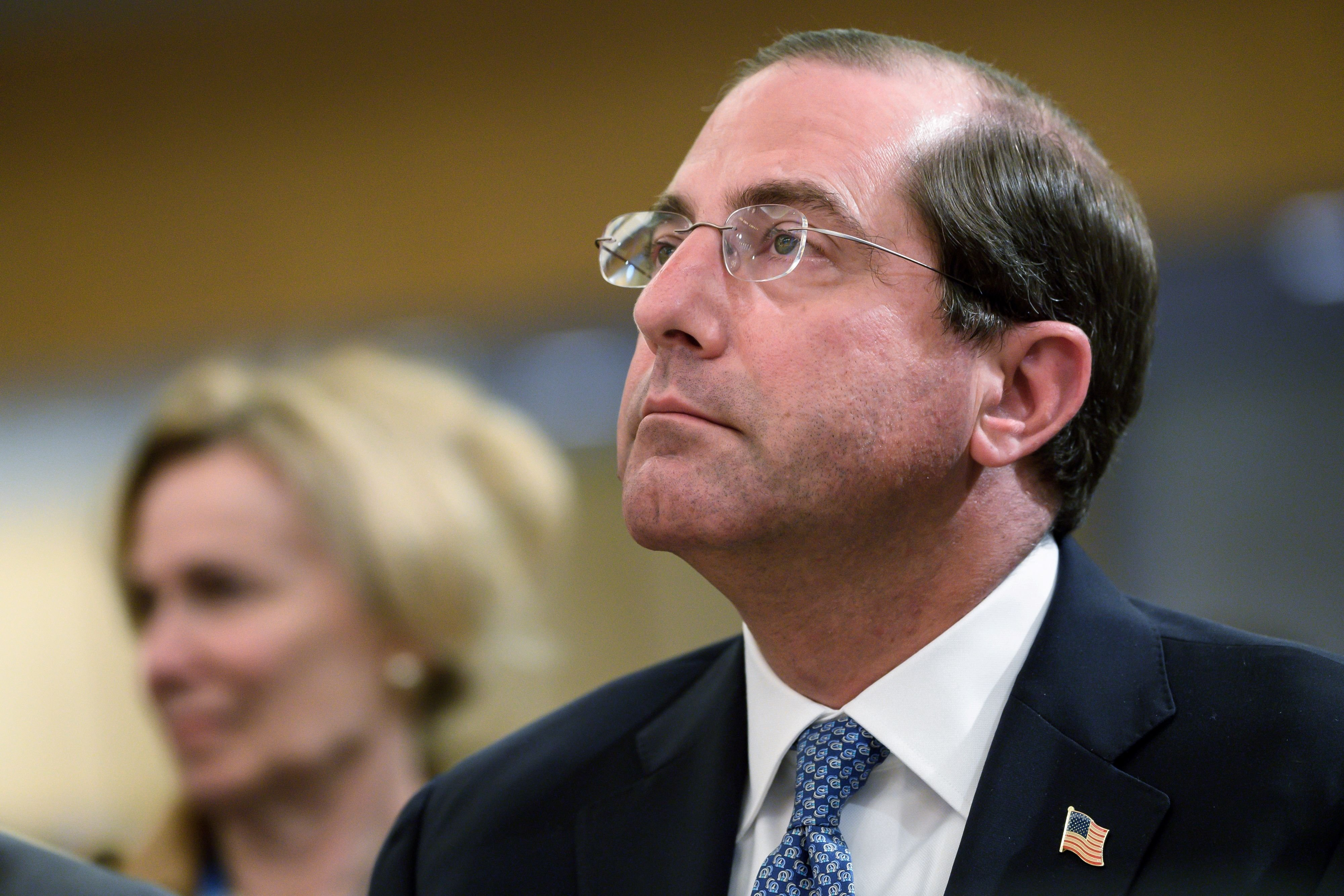US Secretary of Health Alex Azar attends the opening day of the World health assembly on May 20, 2019 at the United Nations Offices in Geneva. (FABRICE COFFRINI/AFP/Getty Images)