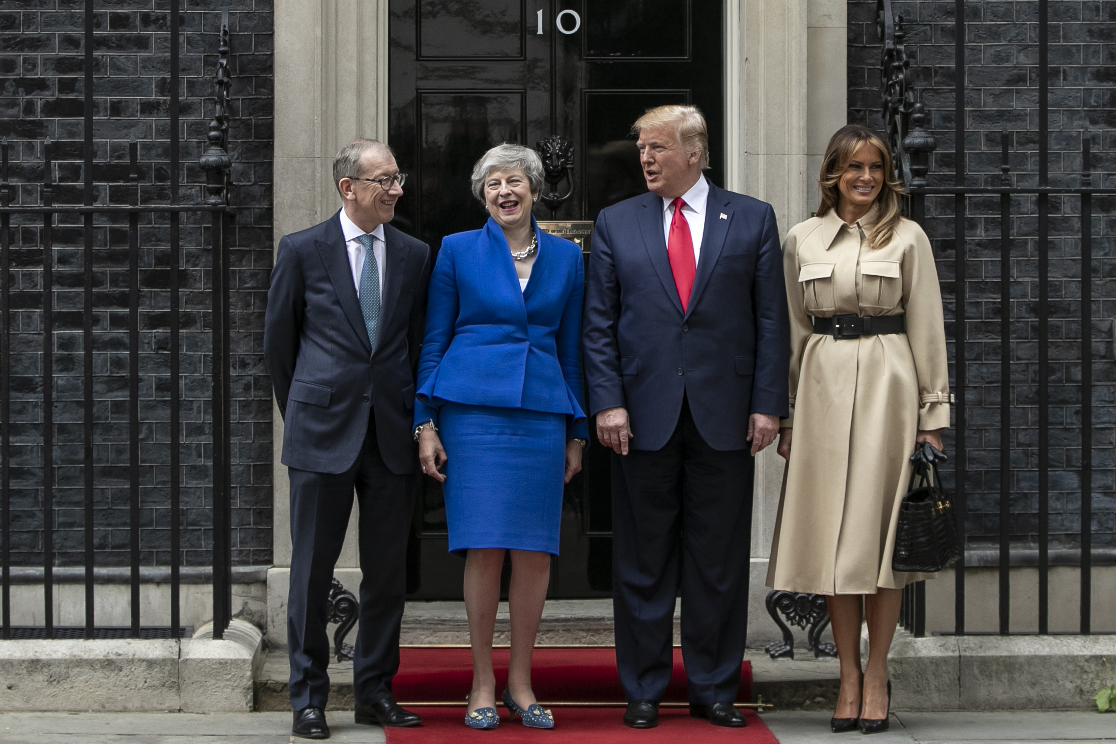 (L-R) Philip May, British Prime Minister Theresa May, U.S. President Donald Trump and First Lady Melania Trump arrive at 10 Downing street for a meeting on the second day of the U.S. President and First Lady's three-day State visit on June 4, 2019 in London, England. (Dan Kitwood/Getty Images)