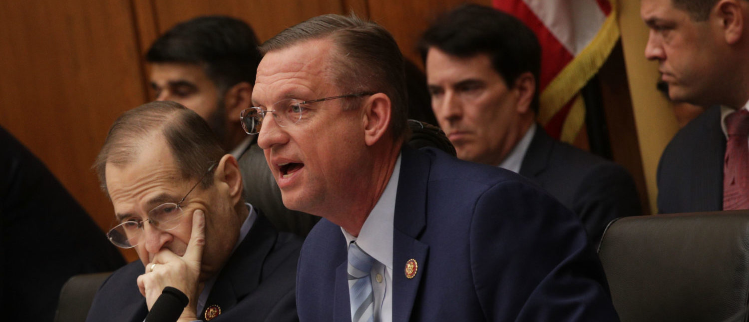 WASHINGTON, DC - MAY 21: Ranking member of U.S. House Judiciary Committee Rep. Doug Collins (R-GA) (R) speaks as committee chairman Rep. Jerry Nadler (D-NY) (L) listens during a hearing in which former White House Counsel Don McGahn was subpoenaed to testify May 21, 2019 on Capitol Hill in Washington, DC. President Donald Trump has directed McGahn not to comply with the subpoena, claiming the former counsel is immune from congressional testimony. (Photo by Alex Wong/Getty Images)