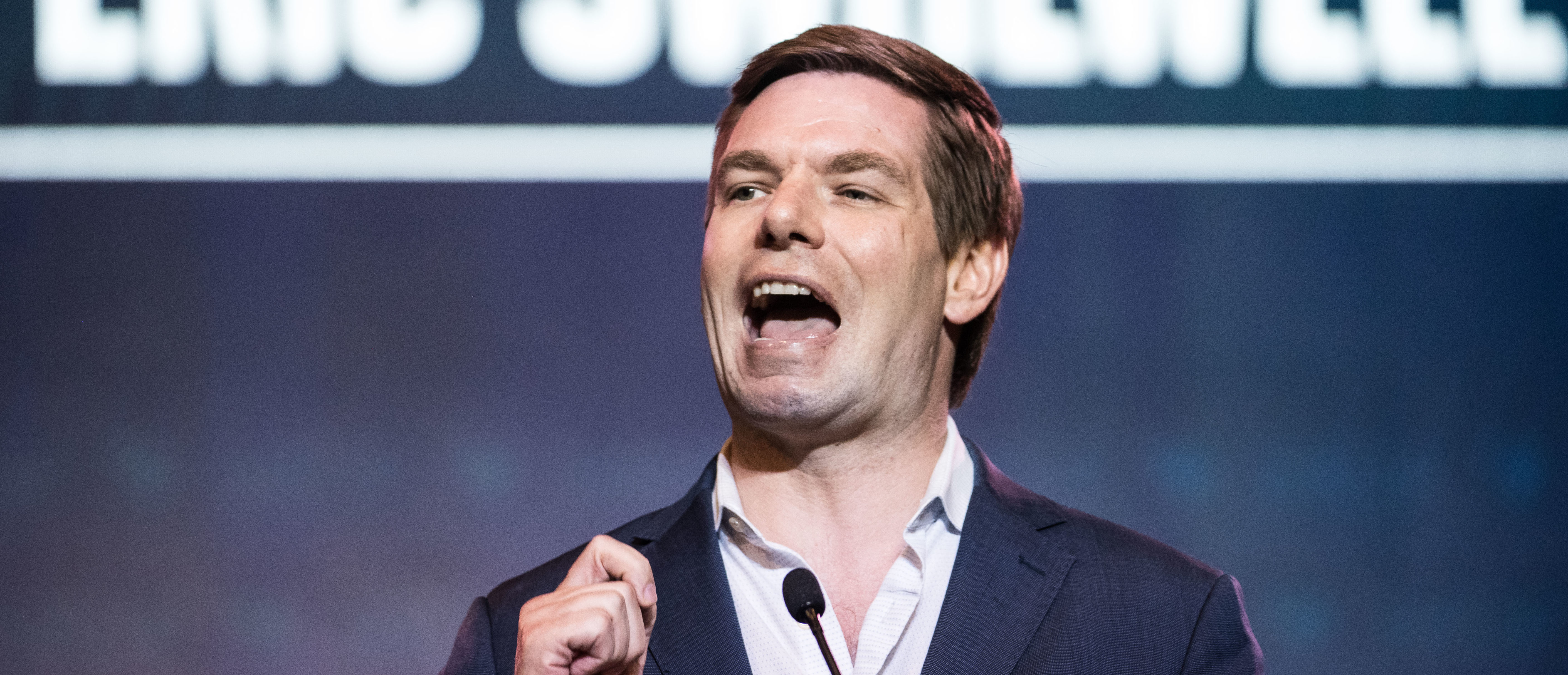 Democratic presidential candidate Rep. Eric Swalwell (D-CA) speaks to the crowd during the 2019 South Carolina Democratic Party State Convention on June 22, 2019 in Columbia, South Carolina. (Sean Rayford/Getty Images)