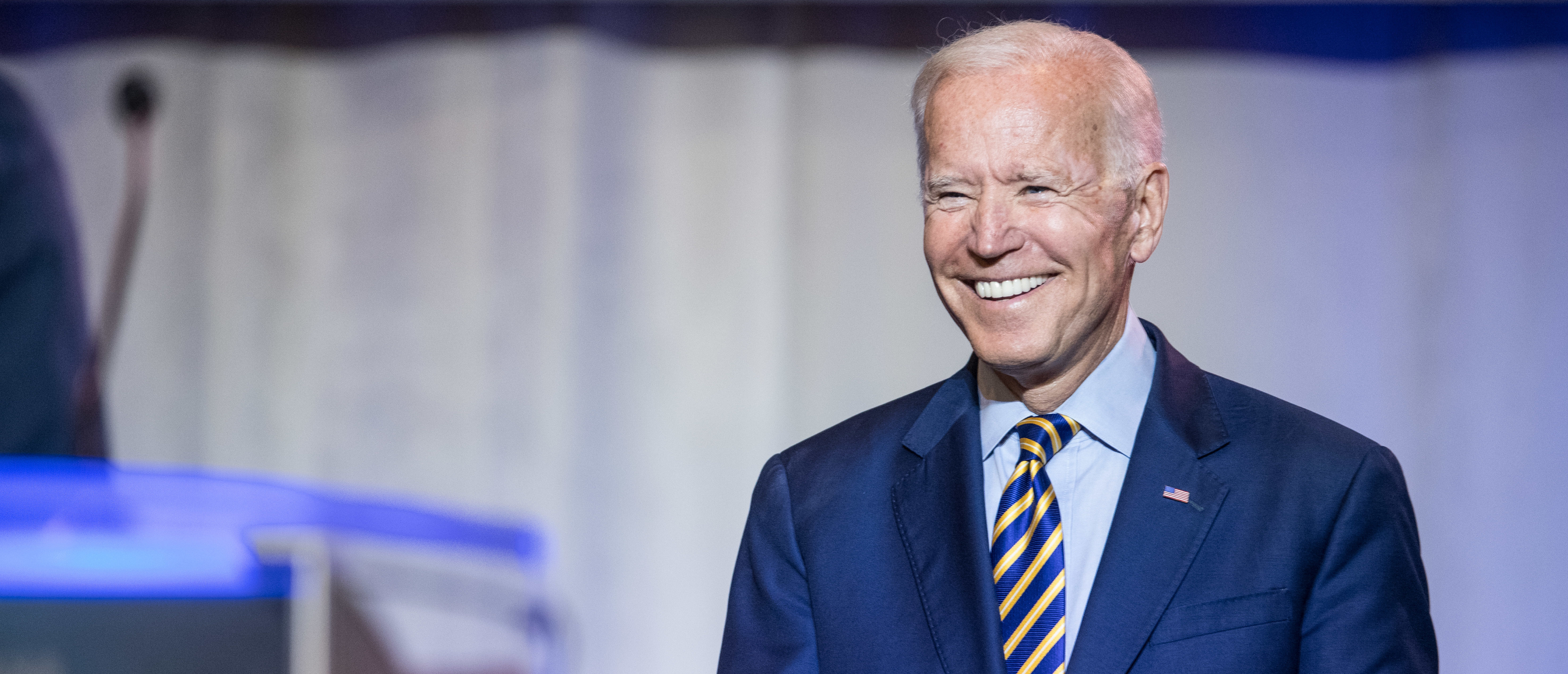 COLUMBIA, SC - JUNE 22: Democratic presidential candidate, former Vice President Joe Biden is introduced to the crowd during the 2019 South Carolina Democratic Party State Convention on June 22, 2019 in Columbia, South Carolina. Democratic presidential hopefuls are converging on South Carolina this weekend for a host of events where the candidates can directly address an important voting bloc in the Democratic primary. (Photo by Sean Rayford/Getty Images)