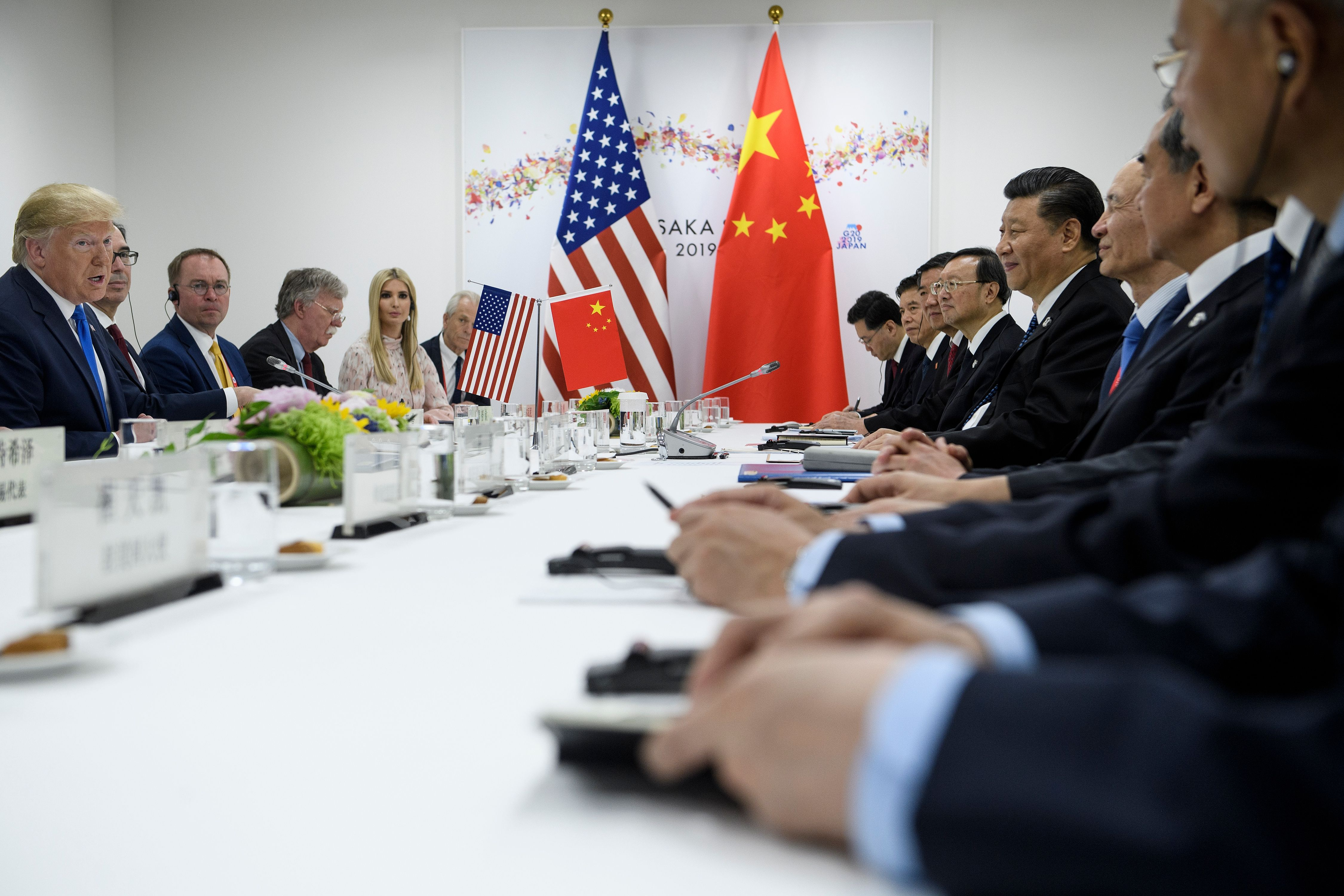 US President Donald Trump and China's President Xi Jinping attend a bilateral meeting on the sidelines of the G20 Summit in Osaka on June 29, 2019. (Photo by Brendan Smialowski / AFP) (Photo credit should read BRENDAN SMIALOWSKI/AFP/Getty Images)