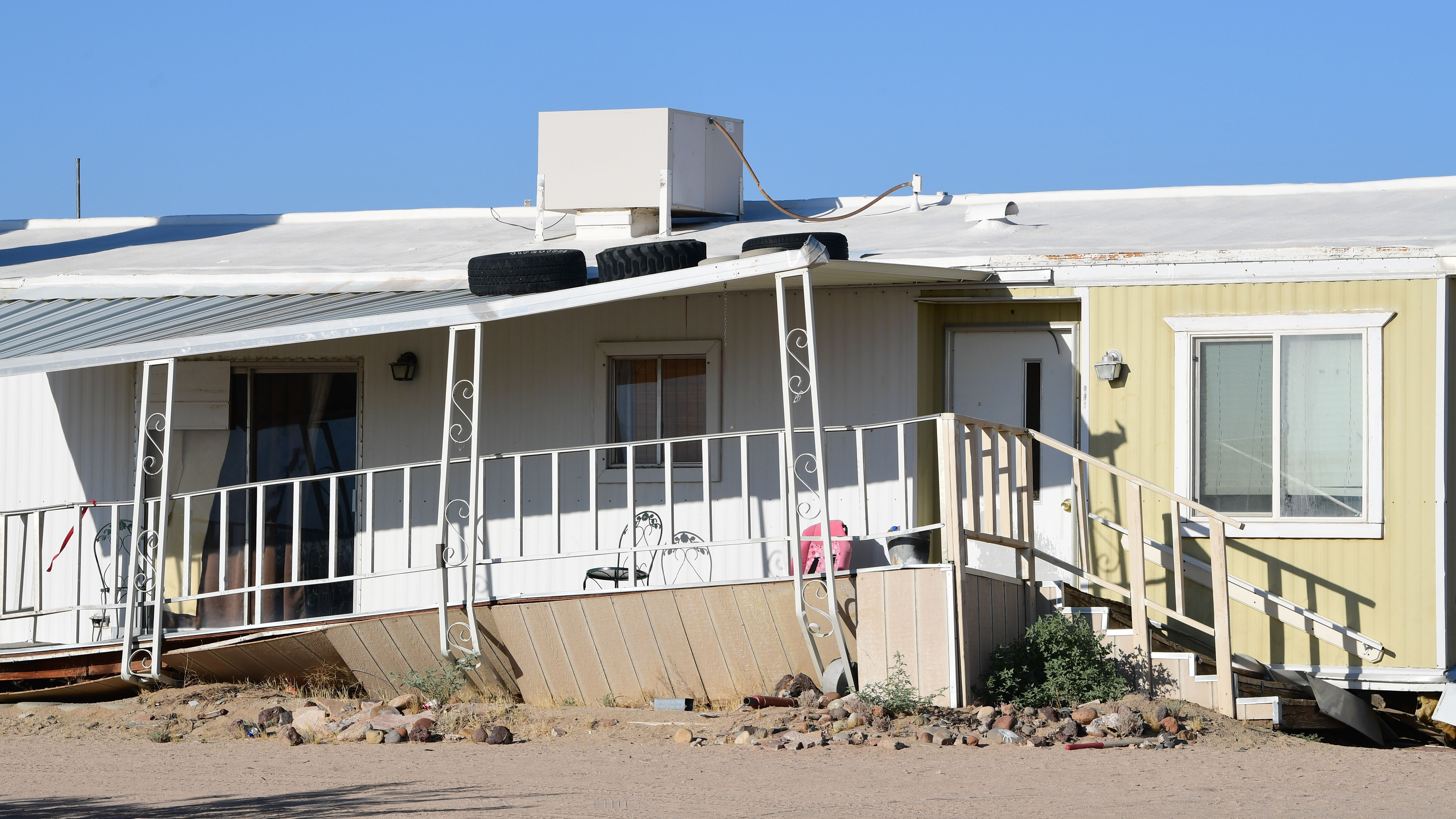 A damaged home is seen after a 6.4-magnitude earthquake hit in Ridgecrest, California, on July 4, 2019. - Southern California was rocked by a 6.4-magnitude earthquake Thursday morning, the US Geological Survey said, with authorities warning that the temblor, the largest in two decades, might not be the day's last. (Photo by FREDERIC J. BROWN / AFP) (Photo credit should read FREDERIC J. BROWN/AFP/Getty Images)