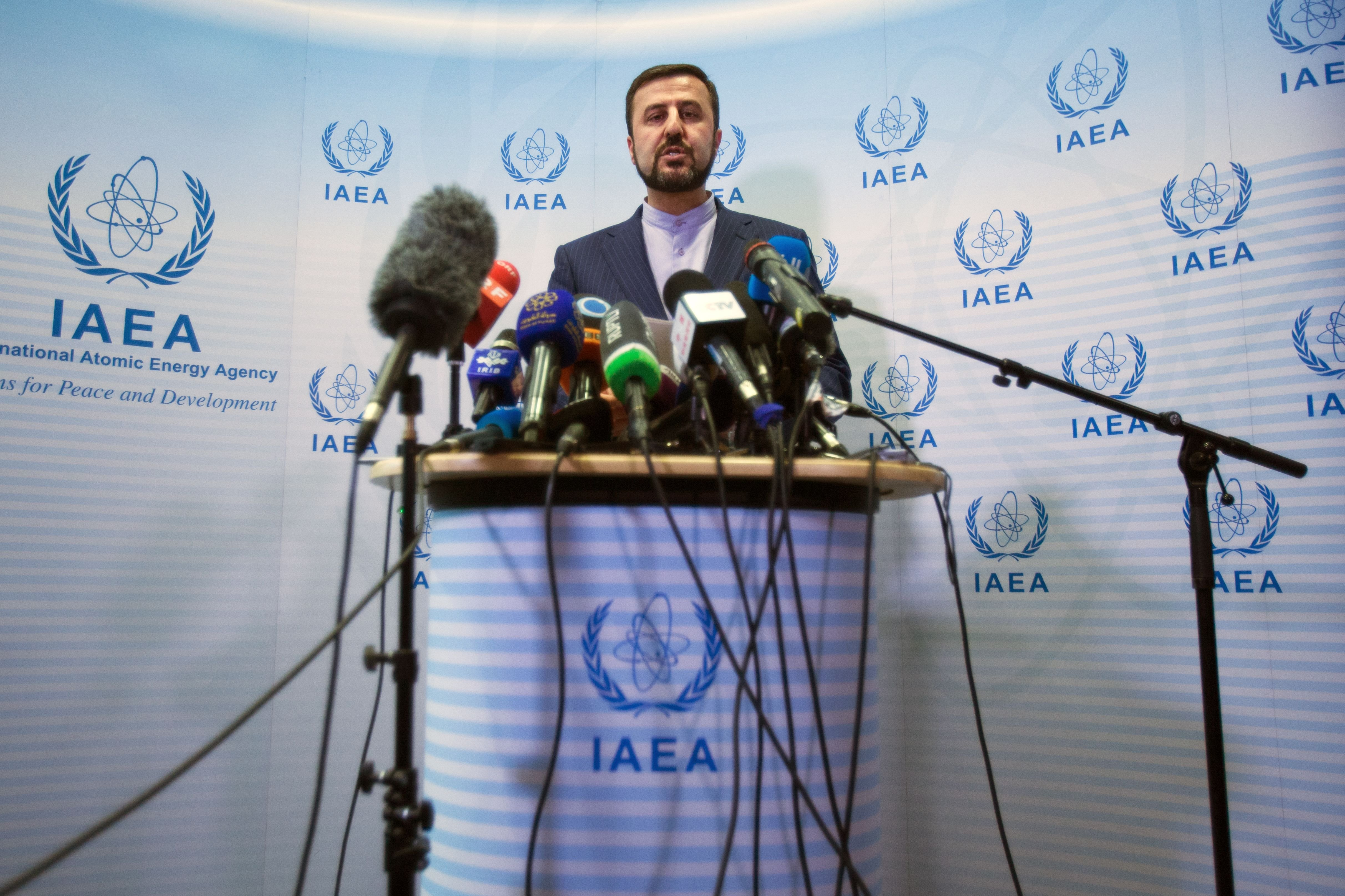 Iran's Permanent Representative to the United Nations Kazem Gharib Abadi give a press conference after the International Atomic Energy Agency (IAEA) Board of Governors meeting in Vienna on July 10, 2019. (ALEX HALADA/AFP/Getty Images)