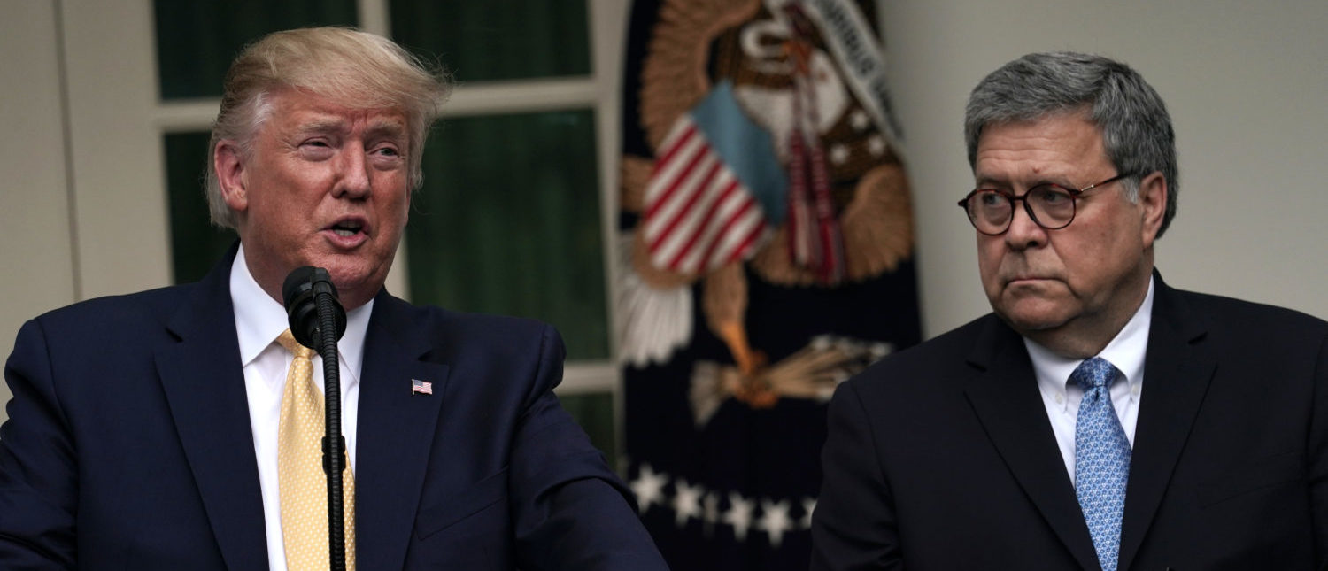 WASHINGTON, DC - JULY 11: U.S. President Donald Trump makes a statement on the census with Attorney General William Barr in the Rose Garden of the White House on July 11, 2019 in Washington, DC. PresidentTrump, who had previously pushed to add a citizenship question to the 2020 census, announced that he would direct the Commerce Department to collect that data in other ways. (Photo by Alex Wong/Getty Images)