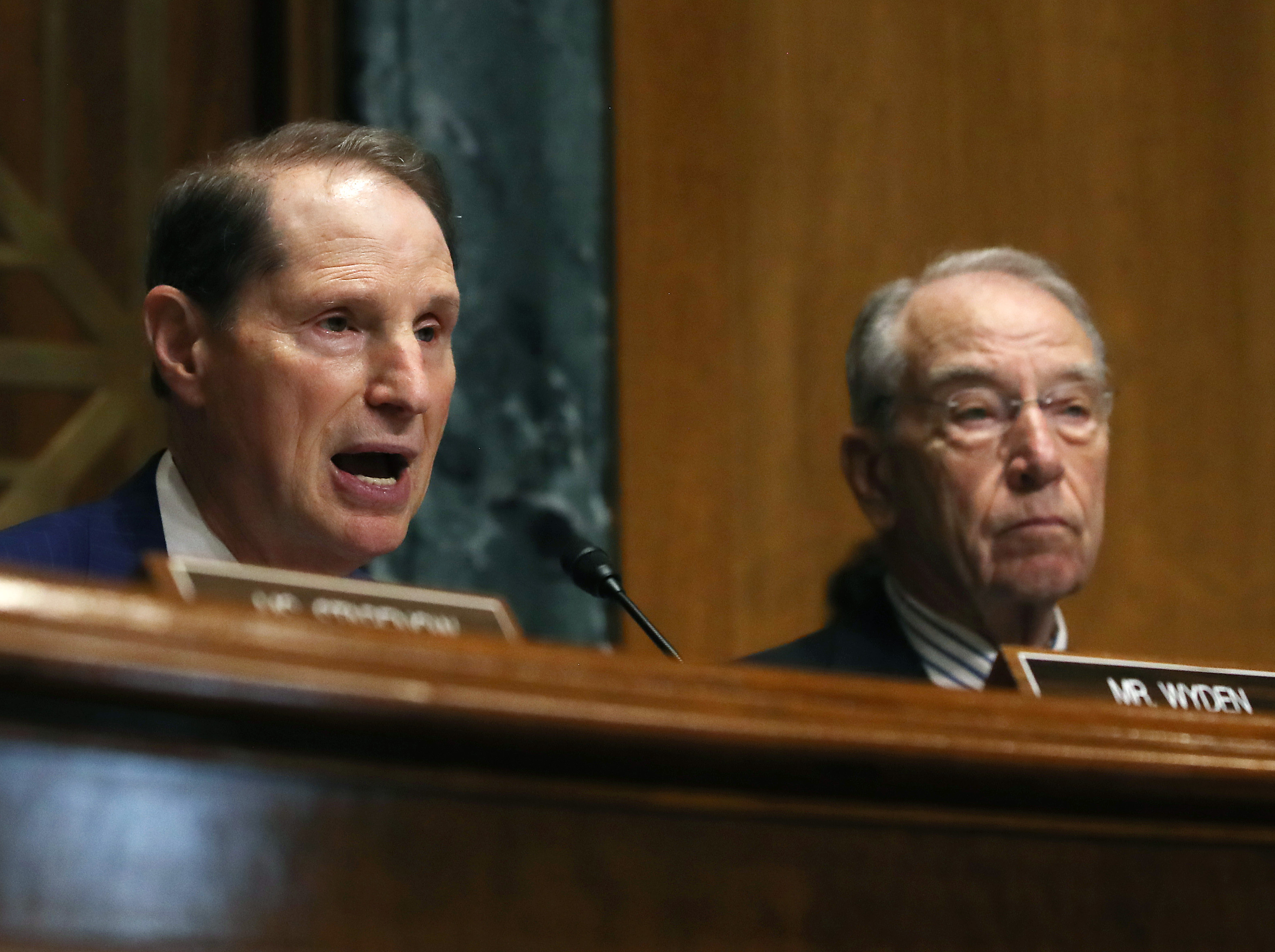 Sen. Ron Wyden (L) speaks while Chairman Chuck Grassley listens, during a Senate Finance Committee hearing on June 18, 2019 in Washington, DC. (Photo by Mark Wilson/Getty Images)