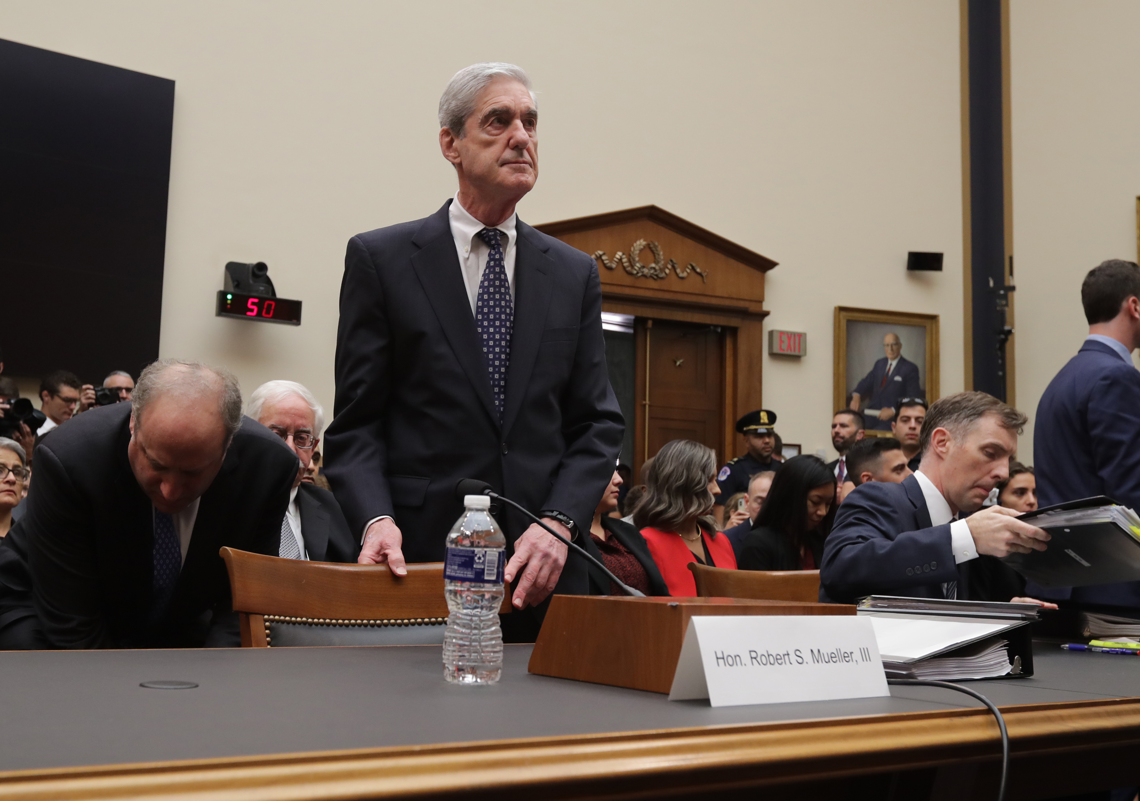 Former Special Counsel Robert Mueller arrives before testifying to the House Judiciary Committee about his report on Russian interference in the 2016 presidential election in the Rayburn House Office Building July 24, 2019 in Washington, DC. (Photo by Chip Somodevilla/Getty Images)