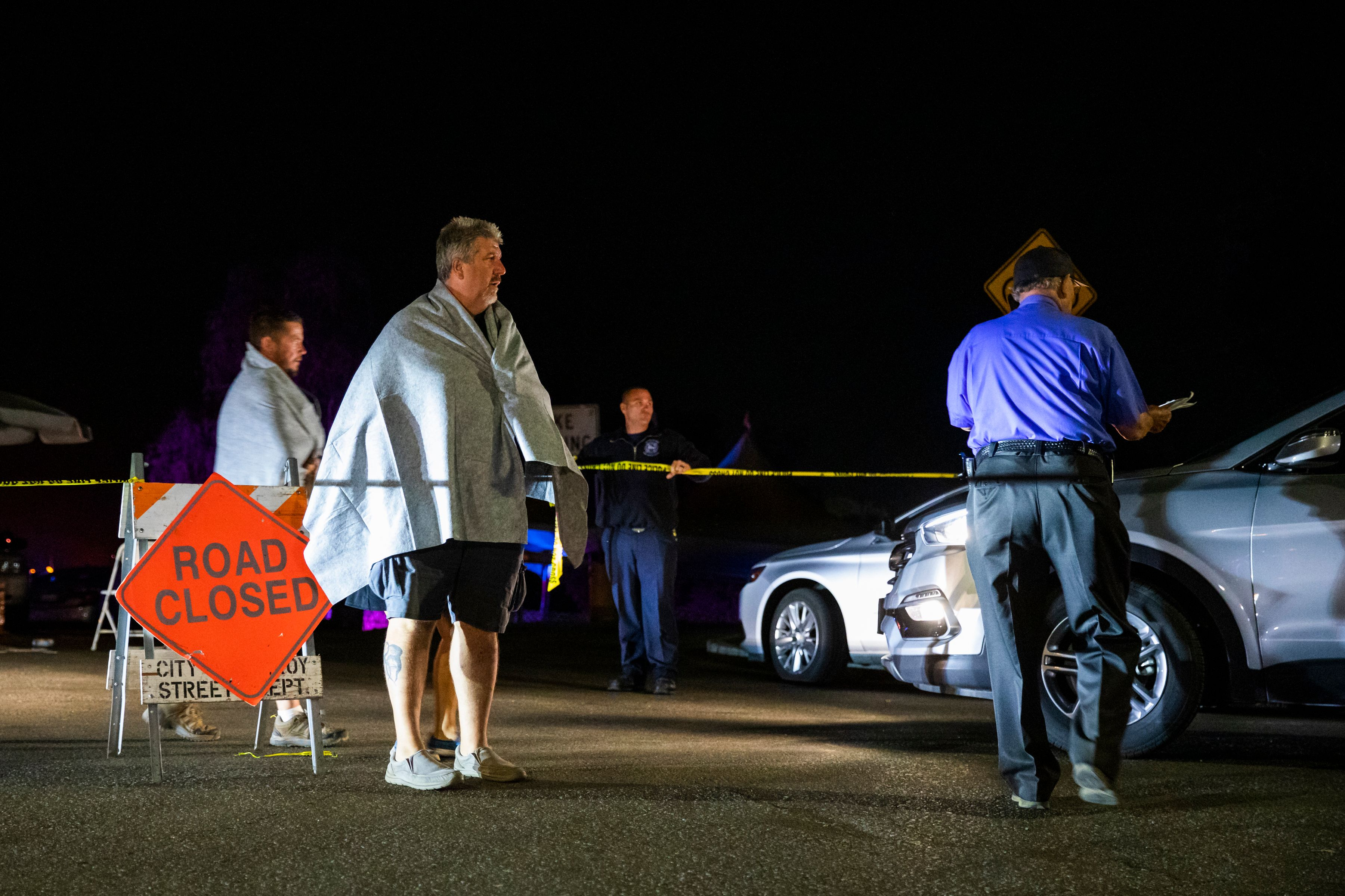 Edward Jacobucci, an evacuee, leaves the scene of the deadly Gilroy Garlic Festival shooting in Gilroy, California on July 28, 2019. (PHILIP PACHECO/AFP/Getty Images)