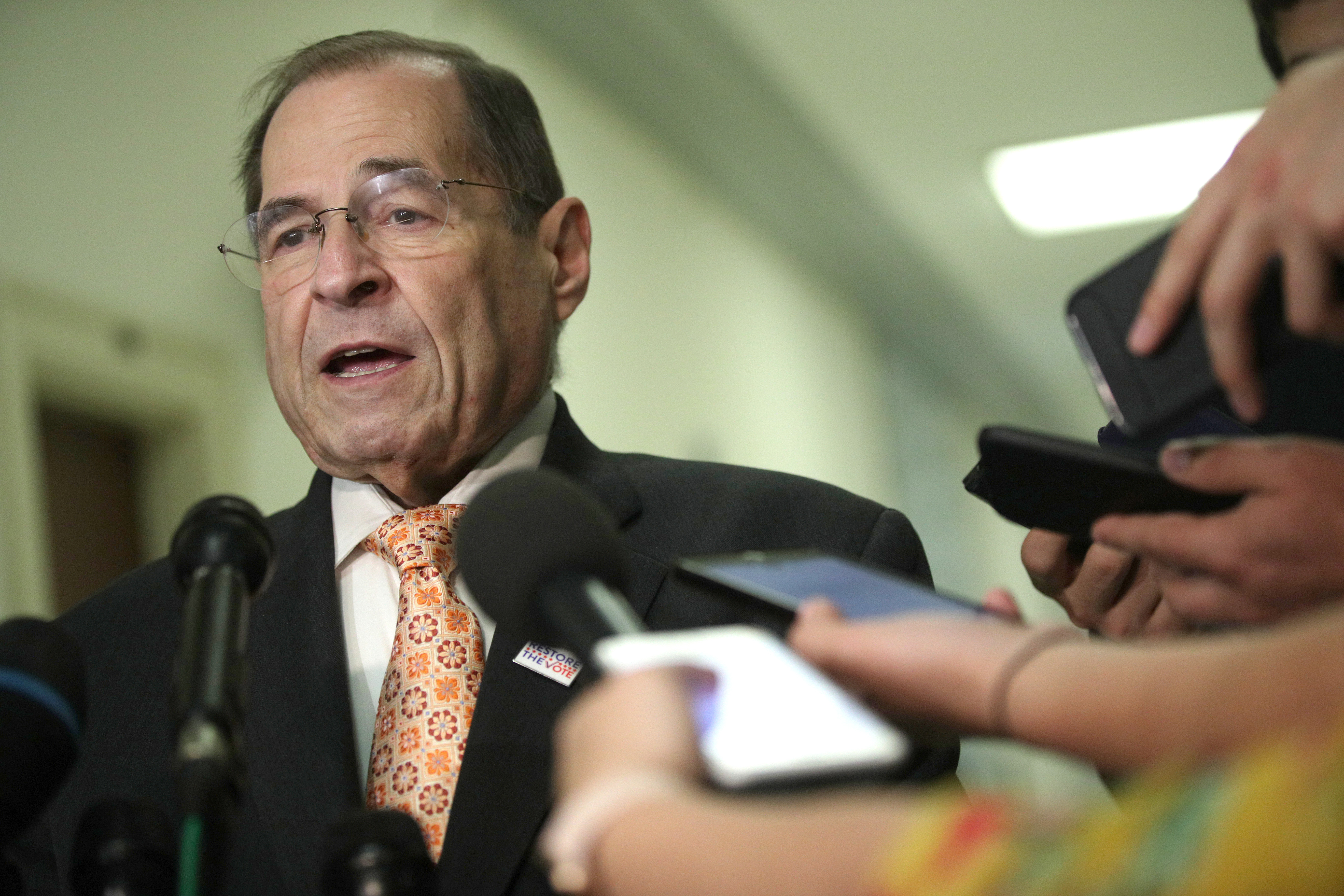 U.S. House Judiciary Committee Chairman Rep. Jerry Nadler speaks to members of the media at Rayburn House Office Building on Capitol Hill June 26, 2019 in Washington, DC. (Photo by Alex Wong/Getty Images)