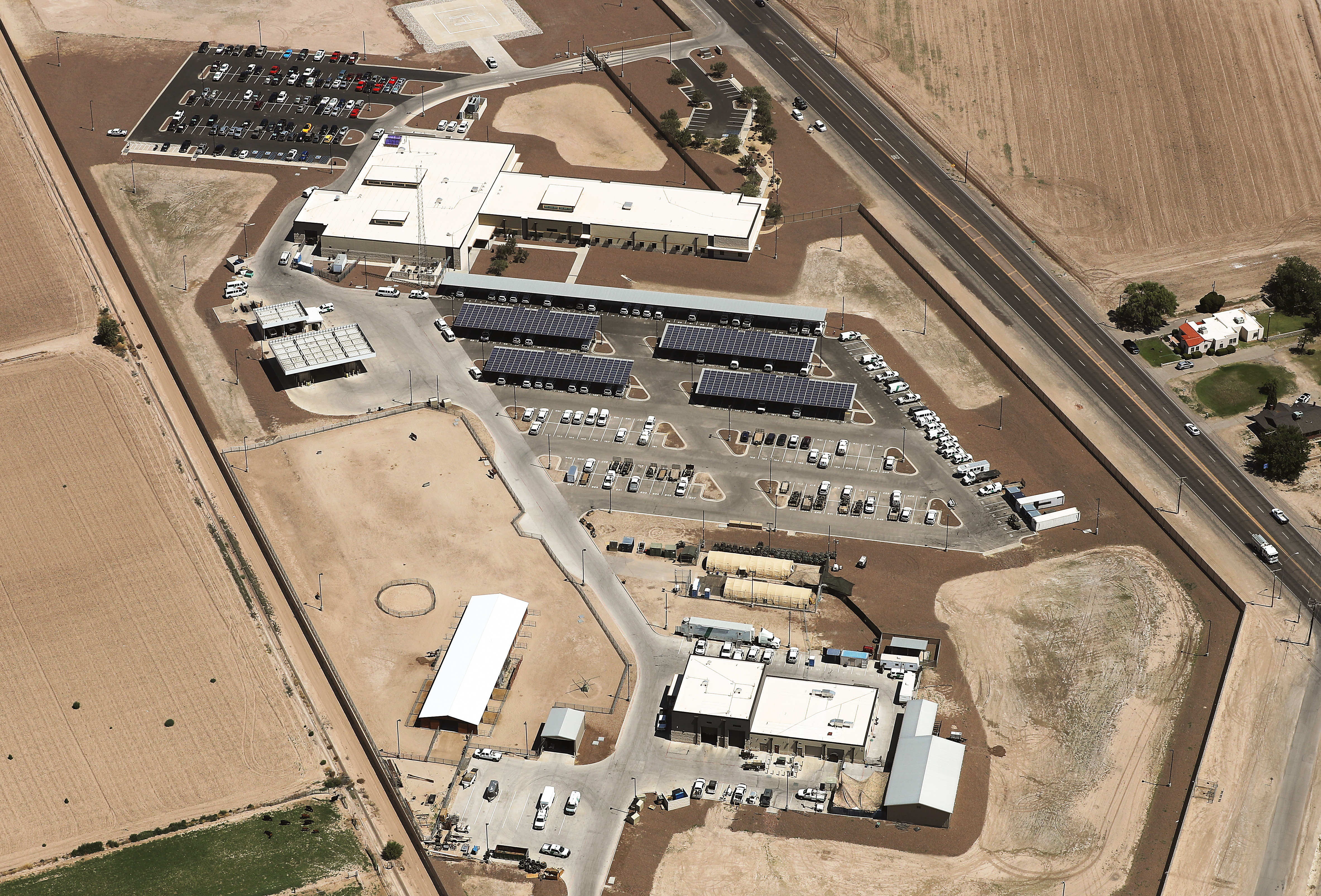 An aerial view of the U.S. Border Patrol facility where attorneys reported that detained migrant children had been held in disturbing conditions on June 28, 2019 in Clint, Texas. (Mario Tama/Getty Images)