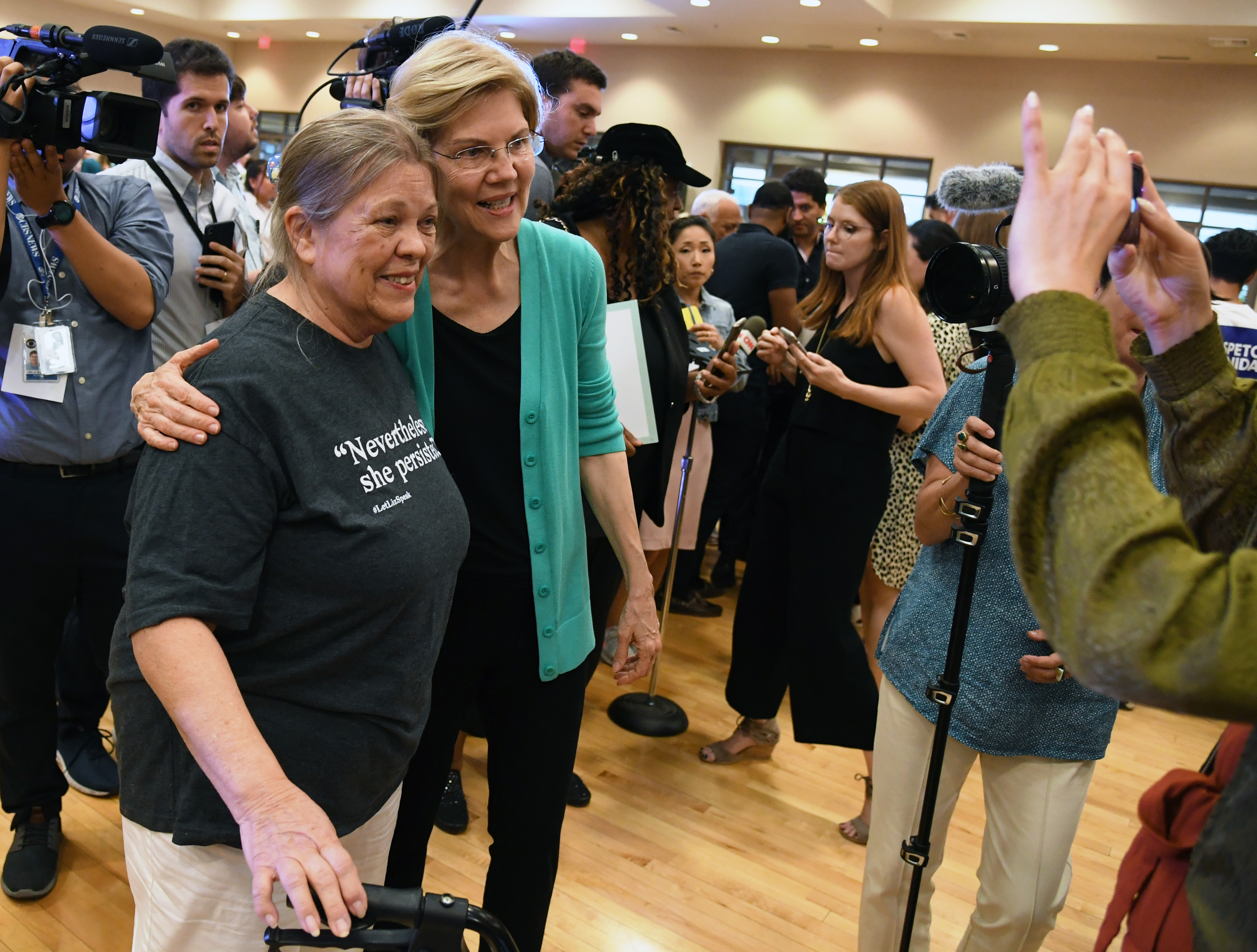 Marilyn Beilstein (L) of Nevada poses for a photo with Democratic presidential candidate U.S. Sen. Elizabeth Warren (D-MA) after she spoke at a community conversation at the East Las Vegas Community Center on July 2, 2019 in Las Vegas, Nevada. (Photo by Ethan Miller/Getty Images)