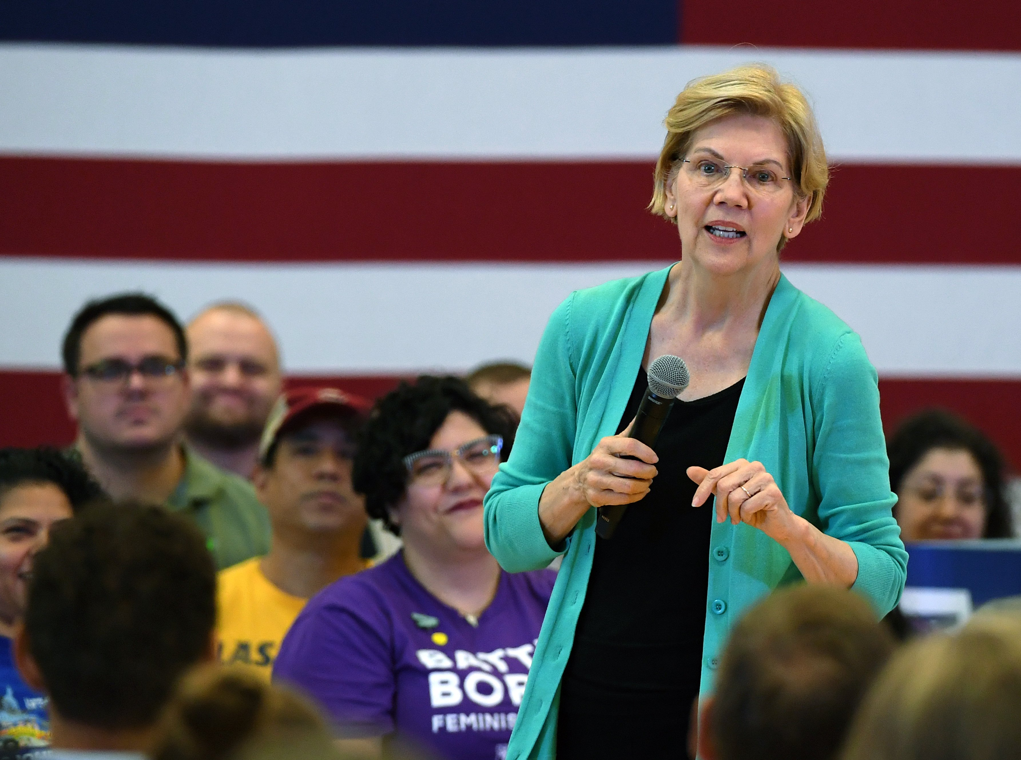 LAS VEGAS, NEVADA - JULY 02: Democratic presidential candidate U.S. Sen. Elizabeth Warren (D-MA) speaks during a community conversation at the East Las Vegas Community Center on July 2, 2019 in Las Vegas, Nevada. Polls taken after last week's first Democratic presidential debates show Warren gaining ground with voters. (Photo by Ethan Miller/Getty Images)