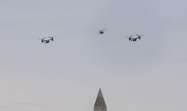 "WASHINGTON, DC - JULY 04: A flyover of the new Marine One and Osprey's on the mall on July 04, 2019 in Washington, DC. President Trump is holding a ""Salute to America"" celebration on the National Mall on Independence Day this year with musical performances, a military flyover, and fireworks. (Photo by Tasos Katopodis/Getty Images)"
