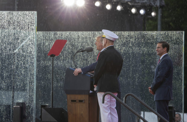 "WASHINGTON, DC - JULY 04: President Donald Trump speaks on July 04, 2019 in Washington, DC. President Trump is holding a ""Salute to America"" celebration on the National Mall on Independence Day this year with musical performances, a military flyover, and fireworks. (Photo by Tasos Katopodis/Getty Images)"