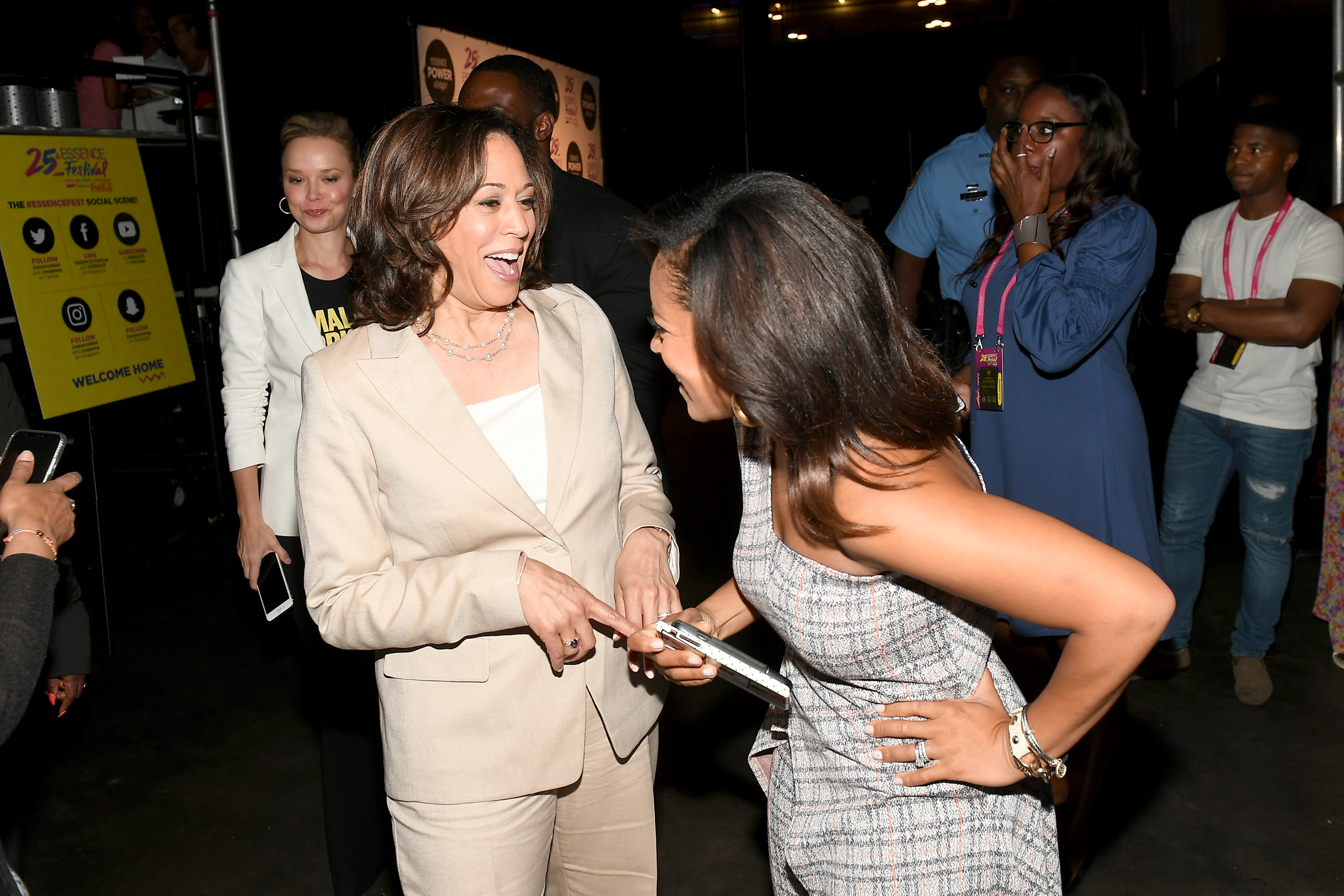 Kamala Harris and Sheinelle Jones attend 2019 ESSENCE Festival Presented By Coca-Cola at Ernest N. Morial Convention Center on July 06, 2019 in New Orleans, Louisiana. (Photo by Paras Griffin/Getty Images for ESSENCE)