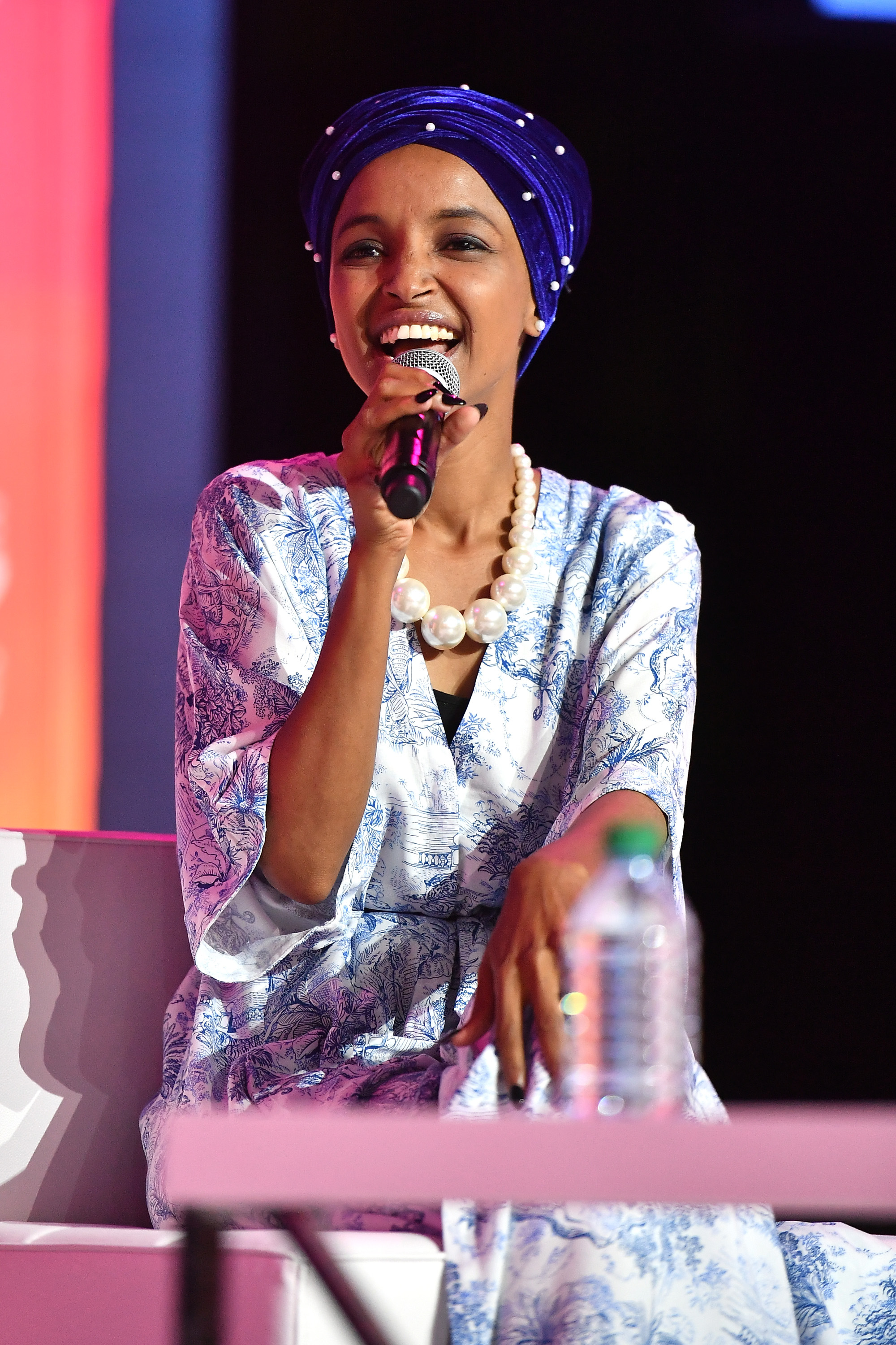 Congresswoman Ilhan Omar speaks on stage at 2019 ESSENCE Festival Presented By Coca-Cola at Ernest N. Morial Convention Center on July 06, 2019 in New Orleans, Louisiana. (Photo by Paras Griffin/Getty Images for ESSENCE)