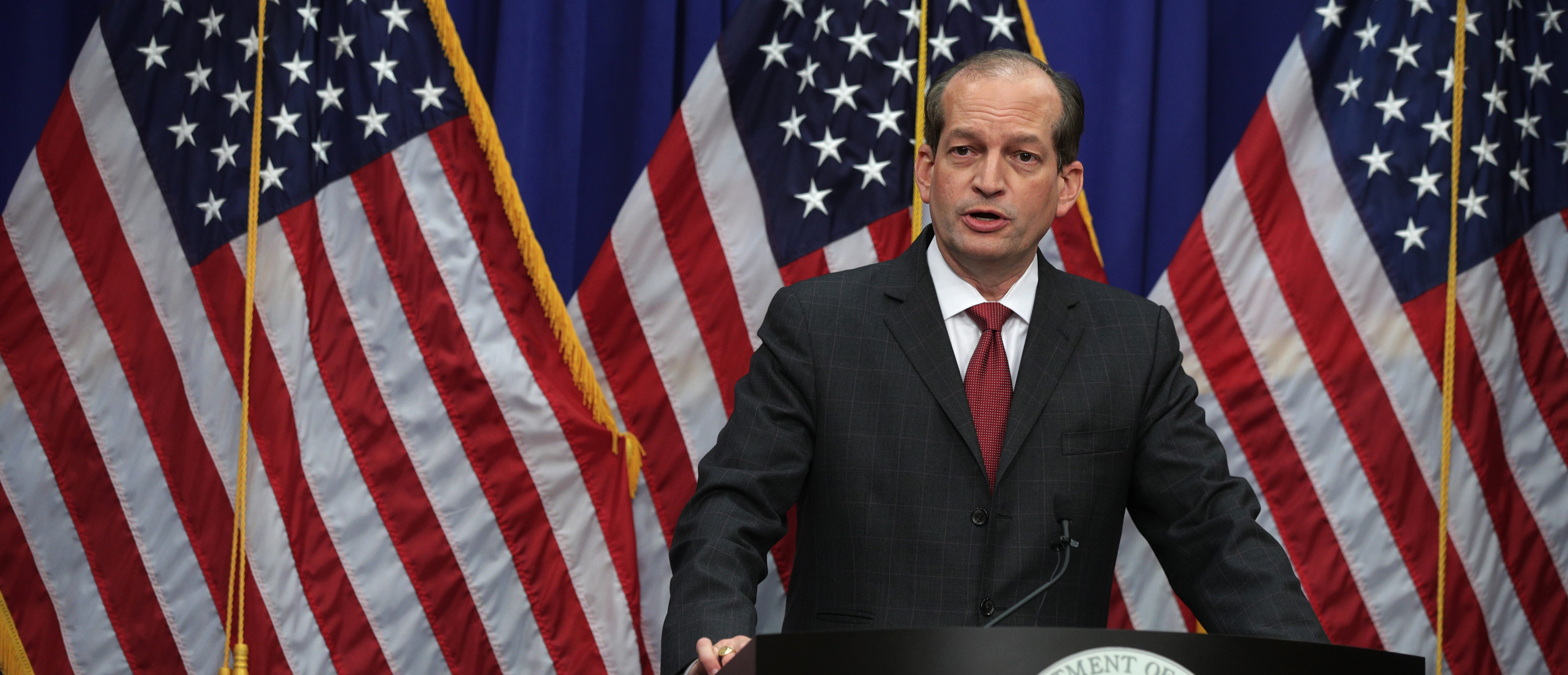U.S. Secretary of Labor Alex Acosta speaks during a press conference July 10, 2019 at the Labor Department in Washington, DC. Secretary Acosta discussed his role in the sexual abuse case of accused sex trafficker Jeffrey Epstein. (Alex Wong/Getty Images)