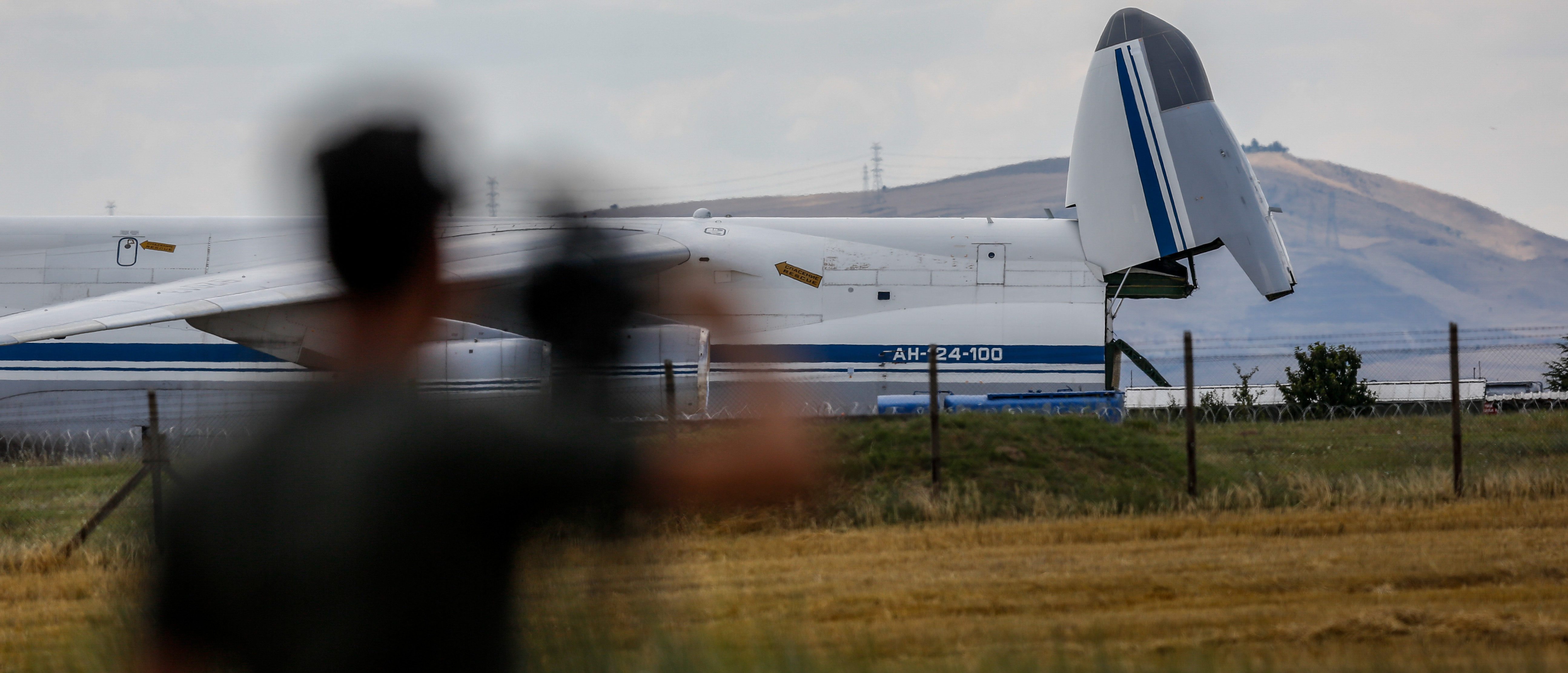 Cargo is unloaded from a Russian AN-124 cargo plane transporting parts of the S-400 air defence system from Russia, after it landed at Murted Airfield on July 12, 2019 in Ankara, Turkey. The Turkish Defence Ministry confirmed the first delivery of components for the Russian S-400 air defence system to Turkey. The United States has warned Turkey that the S-400 deal could put it at risk of sanctions and expulsion from the Pentagon's F-35 fighter jet programme. (Photo by Mustafa Kirazli/Getty Images)