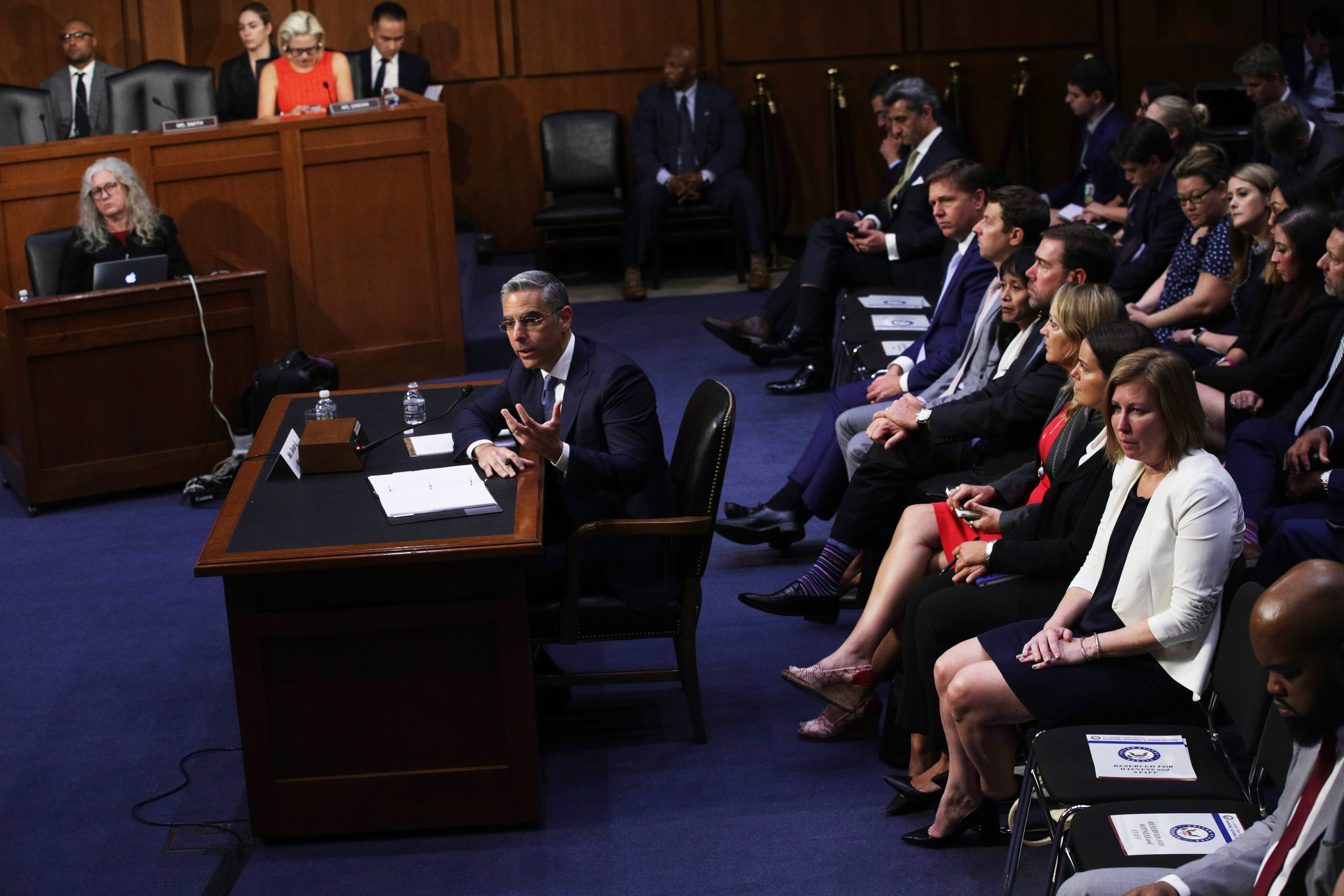 "Head of Facebook's Calibra David Marcus testifies during a hearing before Senate Banking, Housing and Urban Affairs Committee July 16, 2019 on Capitol Hill in Washington, DC. The committee held the hearing on ""Examining Facebook's Proposed Digital Currency and Data Privacy Considerations."" (Photo by Alex Wong/Getty Images)"