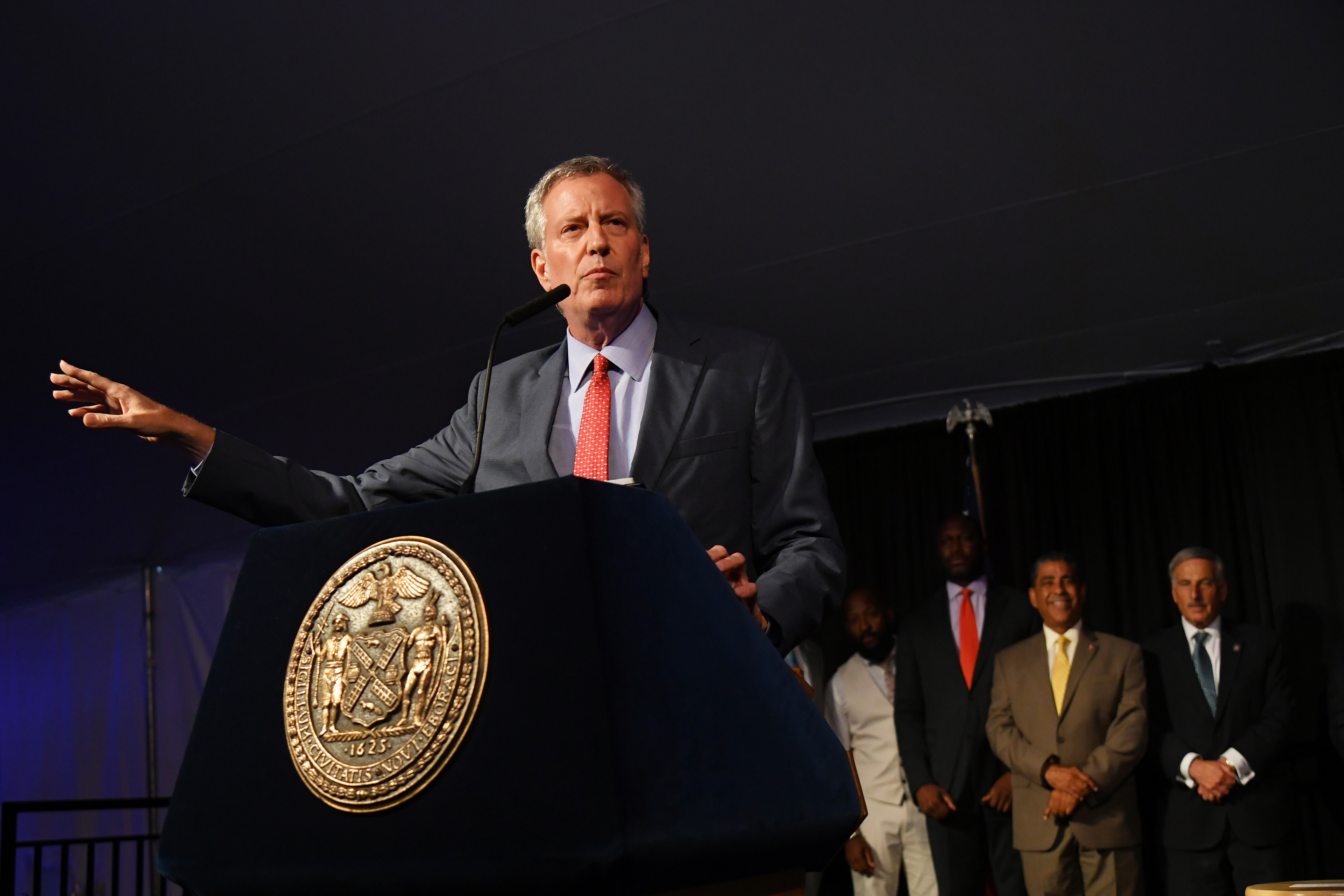 "NYC mayor Bill de Blasio speaks onstage as Harlem, New York City And New York State honor Memphis' 200th Anniversary celebrating ""A New Century Of Soul"" between two iconic communities at Gracie Mansion on July 18, 2019 in New York City. (Photo by Mike Coppola/Getty Images for Memphis Brand Initiative)"