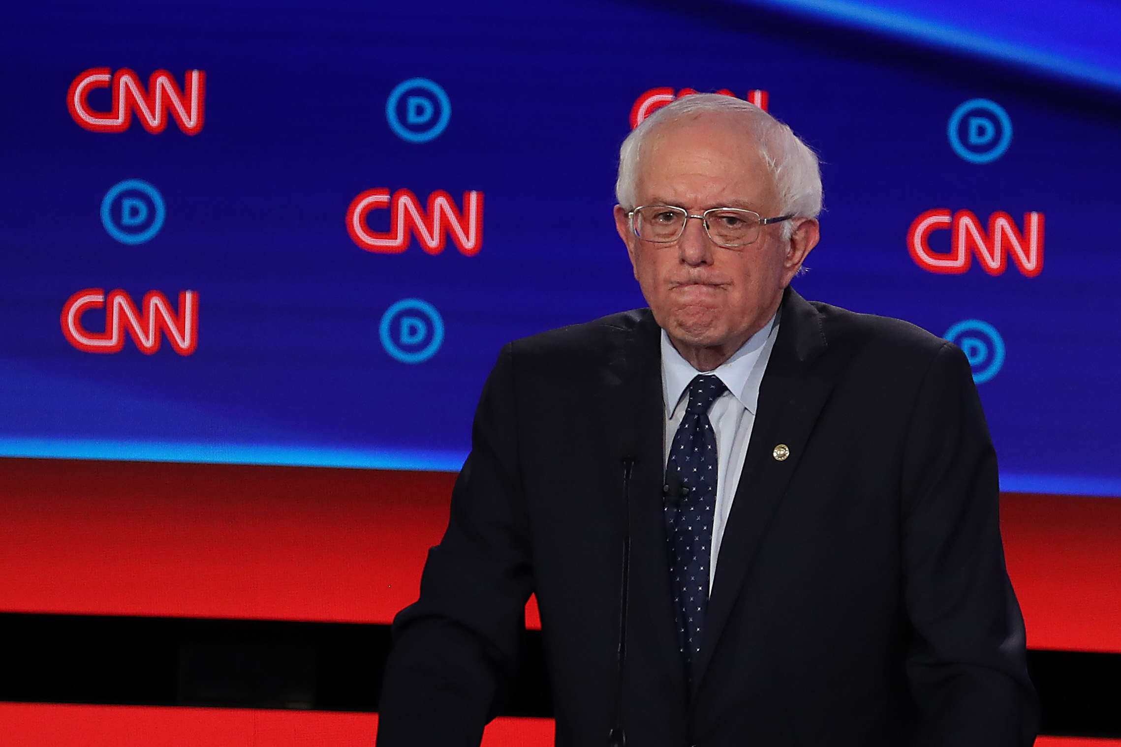 DETROIT, MICHIGAN - JULY 30: Democratic presidential candidate Sen. Bernie Sanders (I-VT) gestures during the Democratic Presidential Debate at the Fox Theatre July 30, 2019 in Detroit, Michigan. 20 Democratic presidential candidates were split into two groups of 10 to take part in the debate sponsored by CNN held over two nights at Detroit's Fox Theatre. (Photo by Justin Sullivan/Getty Images)
