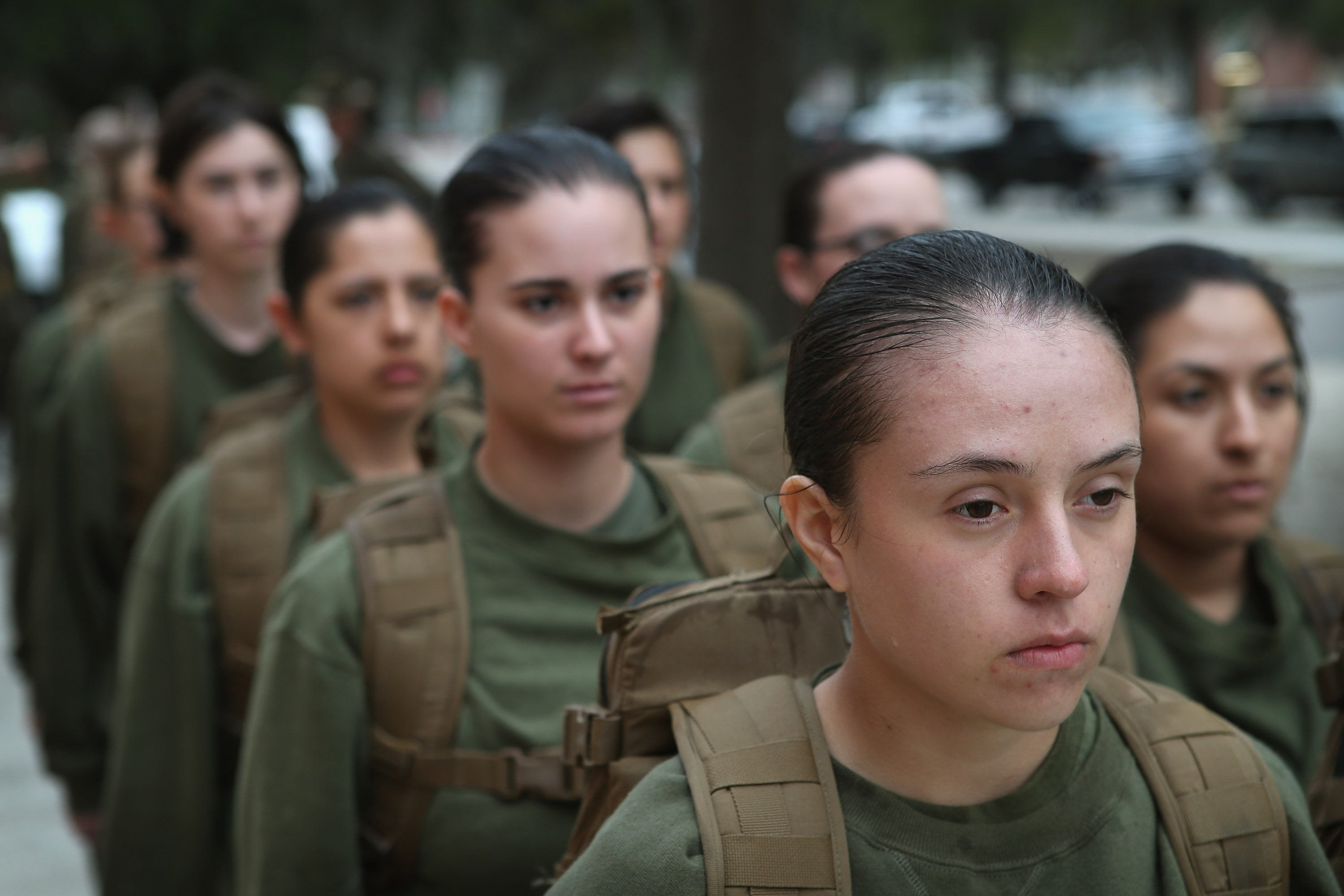 Female Marine recruits stand in formation during boot camp February 25, 2013 at MCRD Parris Island, South Carolina. (Photo by Scott Olson/Getty Images)