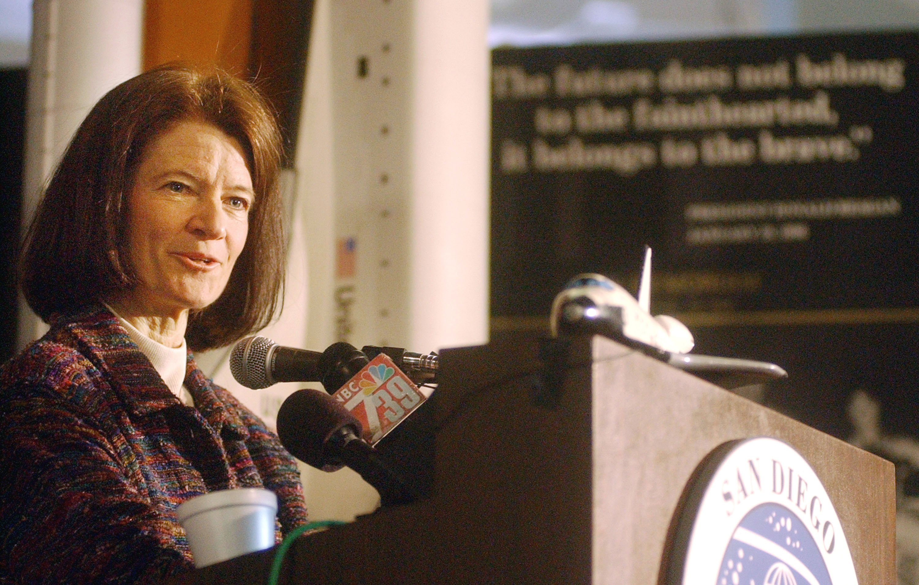 Dr. Sally Ride, the first U.S. woman to travel into space, speaks to the media at the San Diego Aerospace Museum February 7, 2003 in San Diego, California. (Photo by Sandy Huffaker/Getty Images)