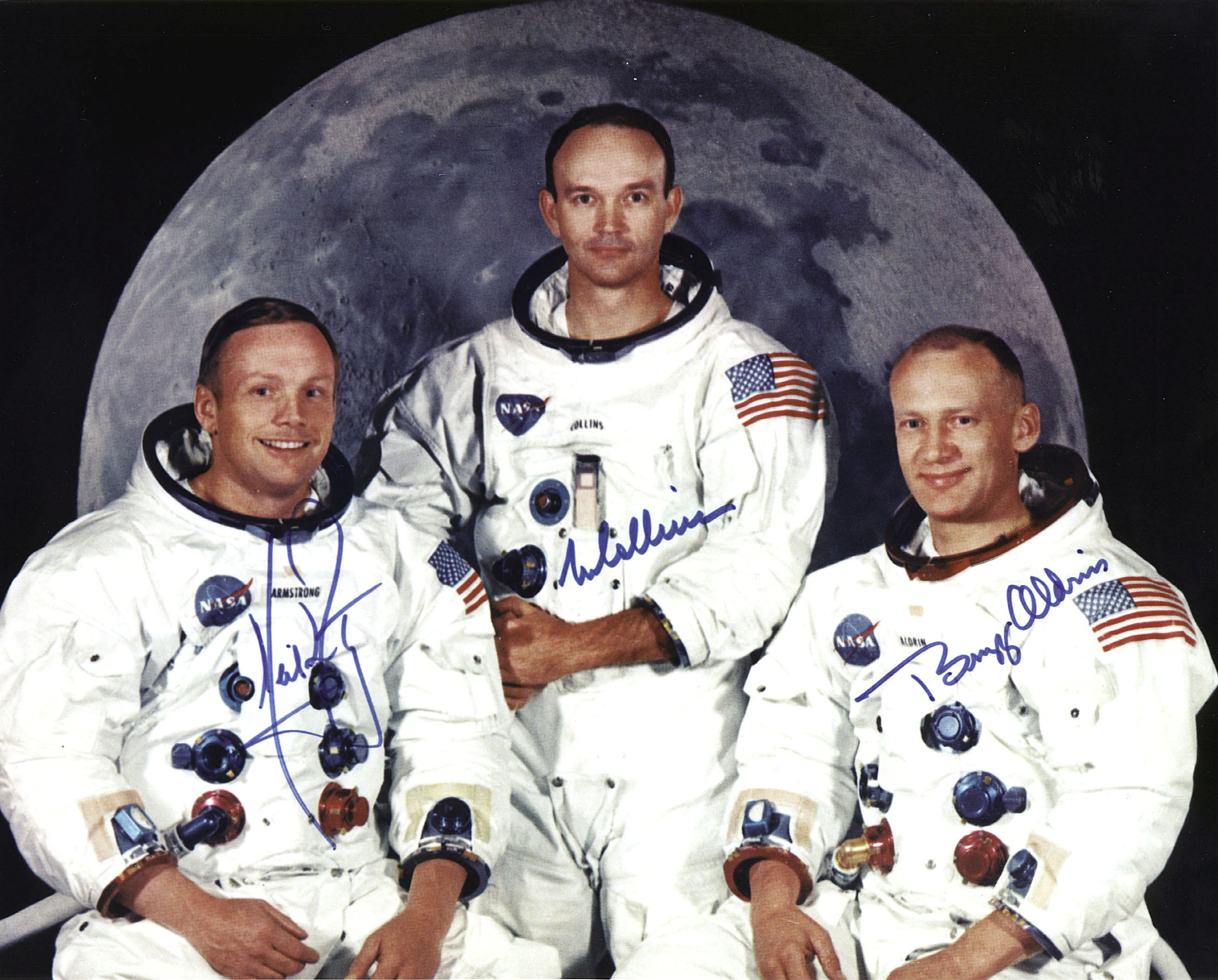 This photo released by NASA shows the crew of the Apollo 11 lunar landing mission L-R Neil Armstrong, commander, Michael Collins, command module pilot and Edwin E. Aldrin Jr, lunar module pilot, 01 May 1969. (NASA/AFP/Getty Images)