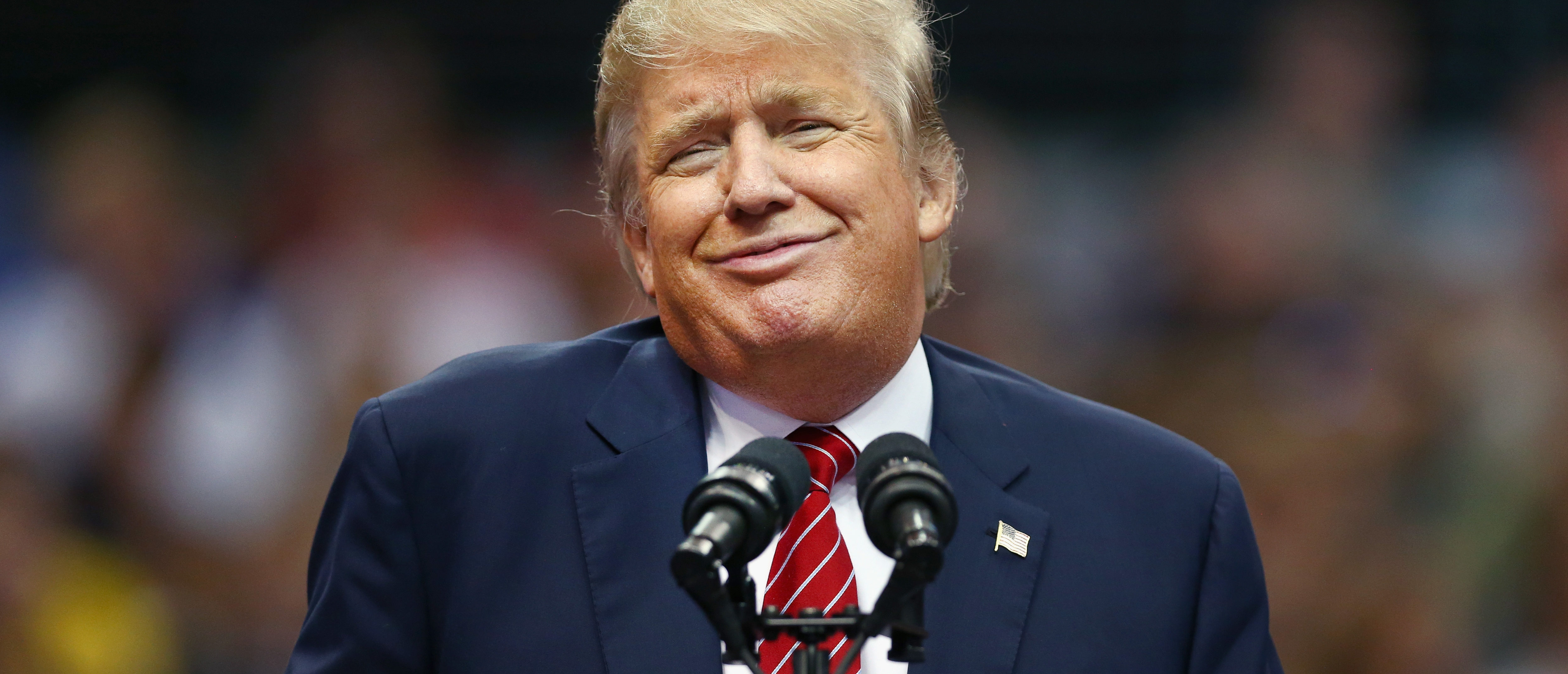 Republican presidential candidate Donald Trump speaks during a campaign rally at the American Airlines Center on Sept. 14, 2015 in Dallas, Texas. (Photo by Tom Pennington/Getty Images)