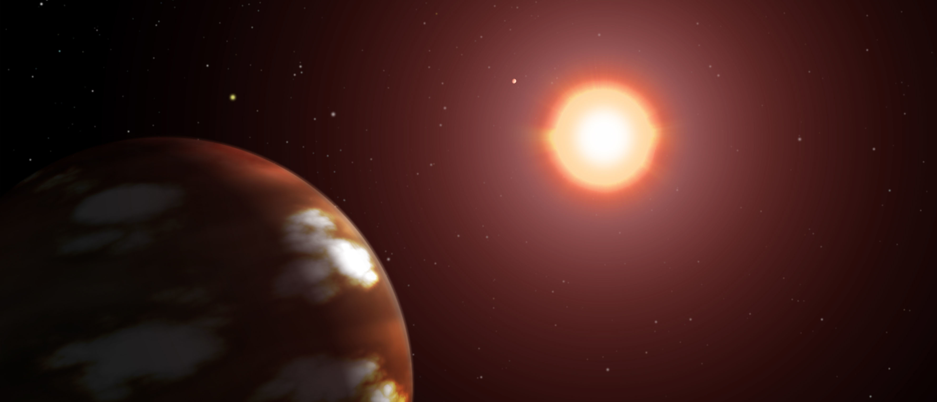 Illustration of a Neptune-sized plaent orbiting the M dwarf star Gliese 436 (Illustration by NASA via Getty Images)