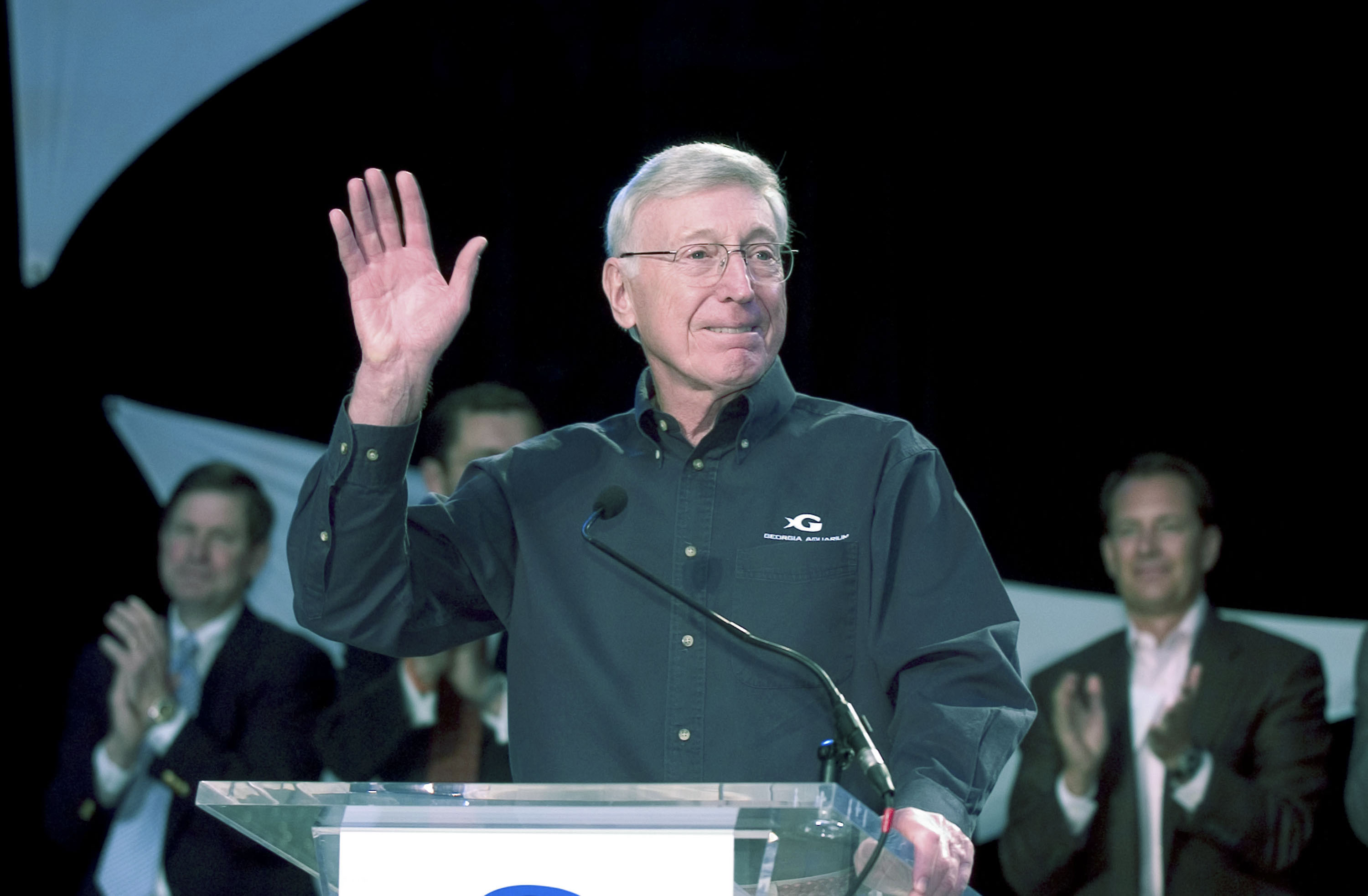 Home Depot co-founder Bernie Marcus speaks prior to a ribbon cutting ceremony at the Georgia Aquarium November 19, 2005 in Atlanta, Goergia. (Barry Williams/Getty Images)